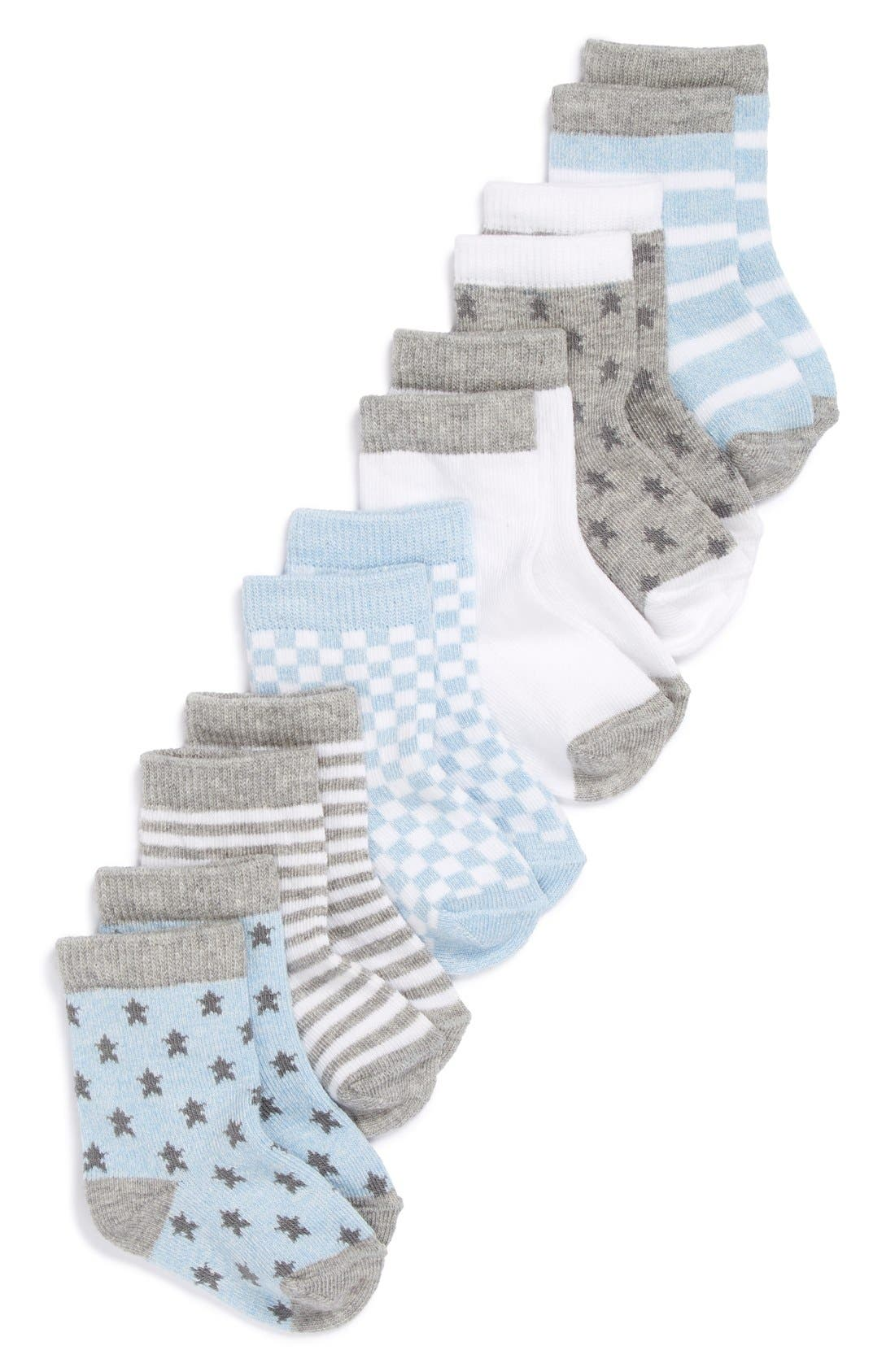 NORDSTROM BABY, Crew Socks, Main thumbnail 1, color, BLUE HEATHER PACK