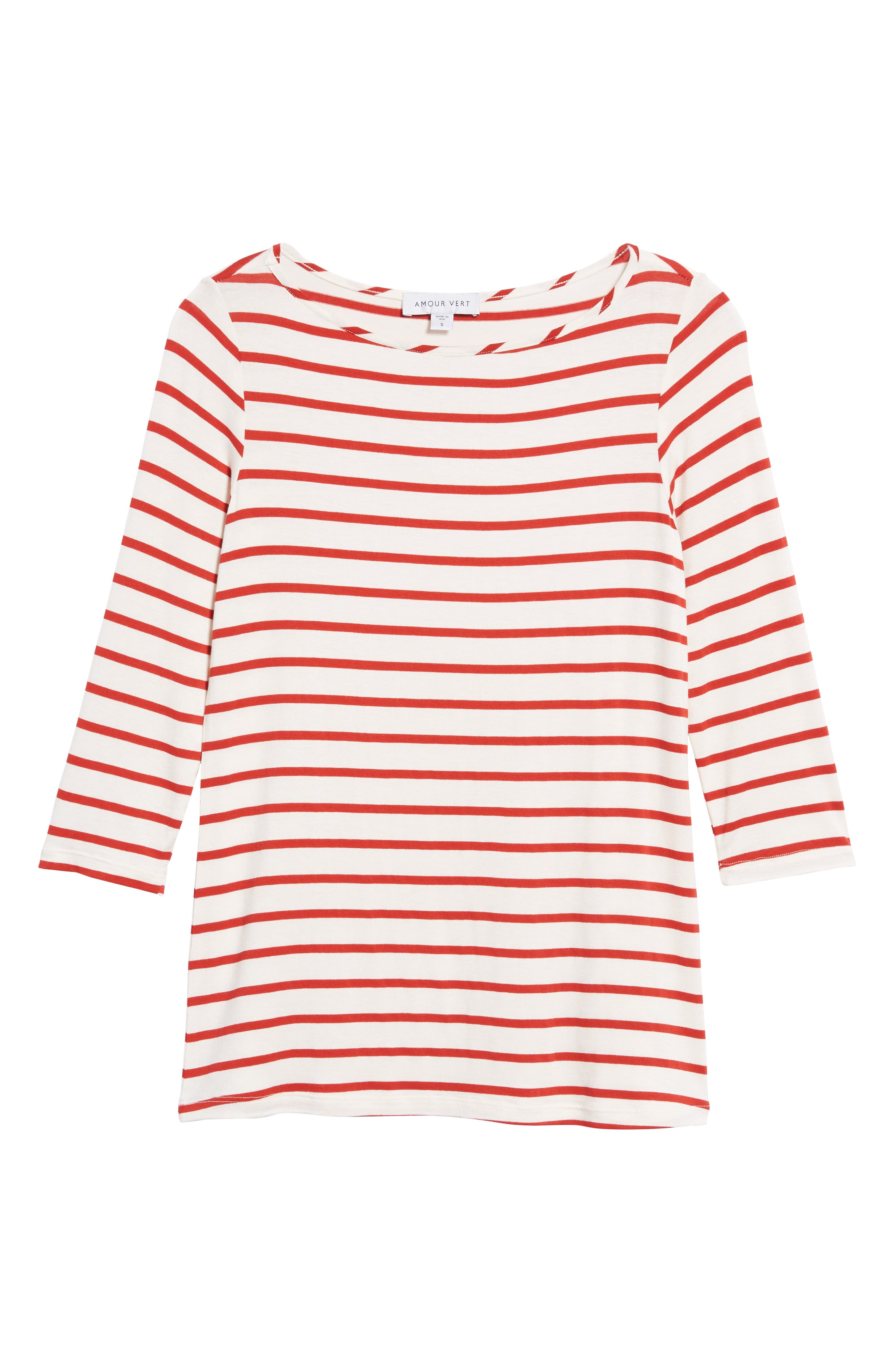 AMOUR VERT, Francoise Stretch Jersey Top, Alternate thumbnail 6, color, POPPY STRIPE