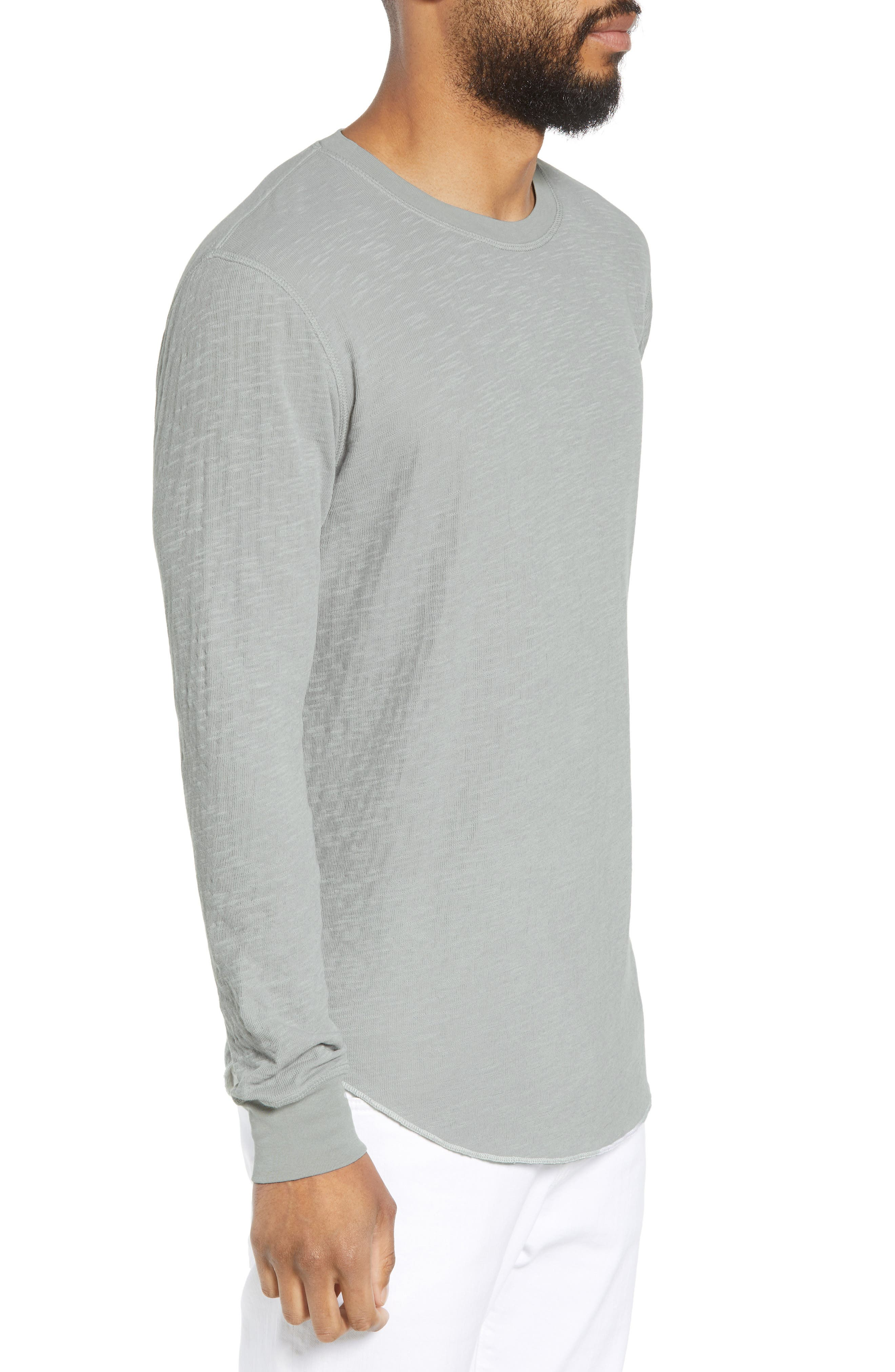 GOODLIFE, Double Layer Slim Crewneck T-Shirt, Alternate thumbnail 3, color, QUARRY