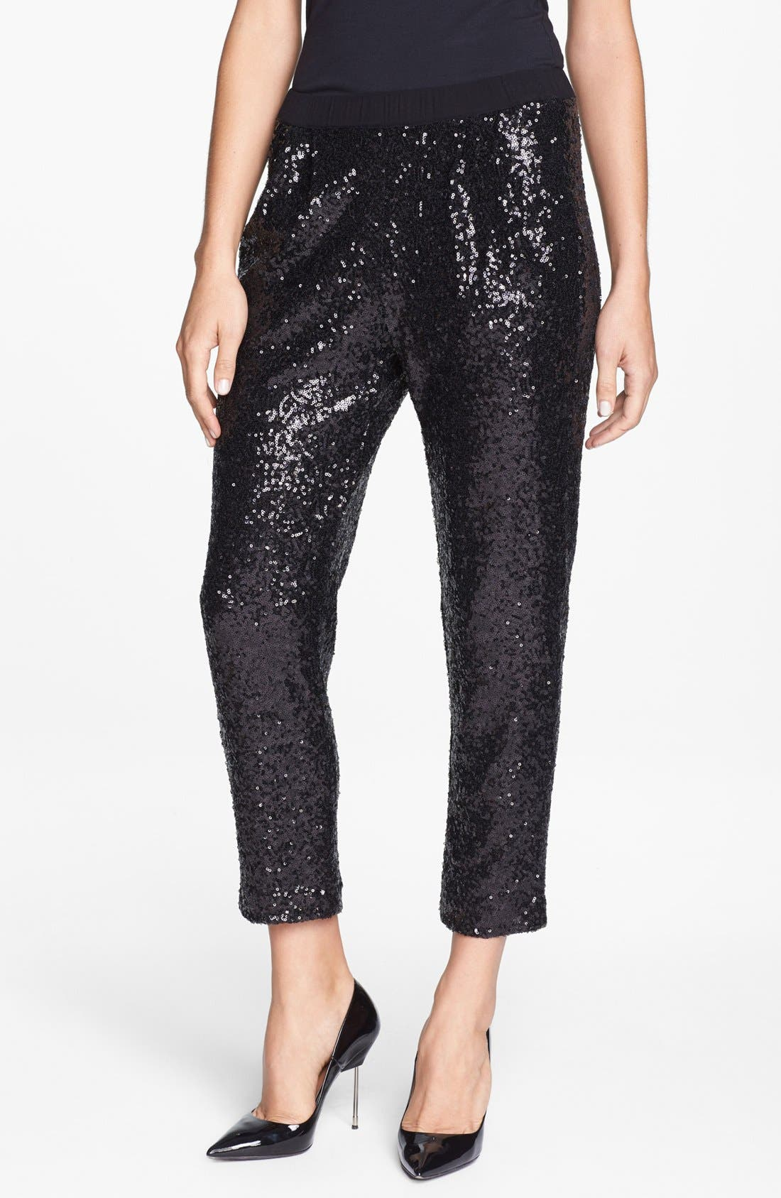 ELLA MOSS, Sequin Slouchy Trousers, Main thumbnail 1, color, 001