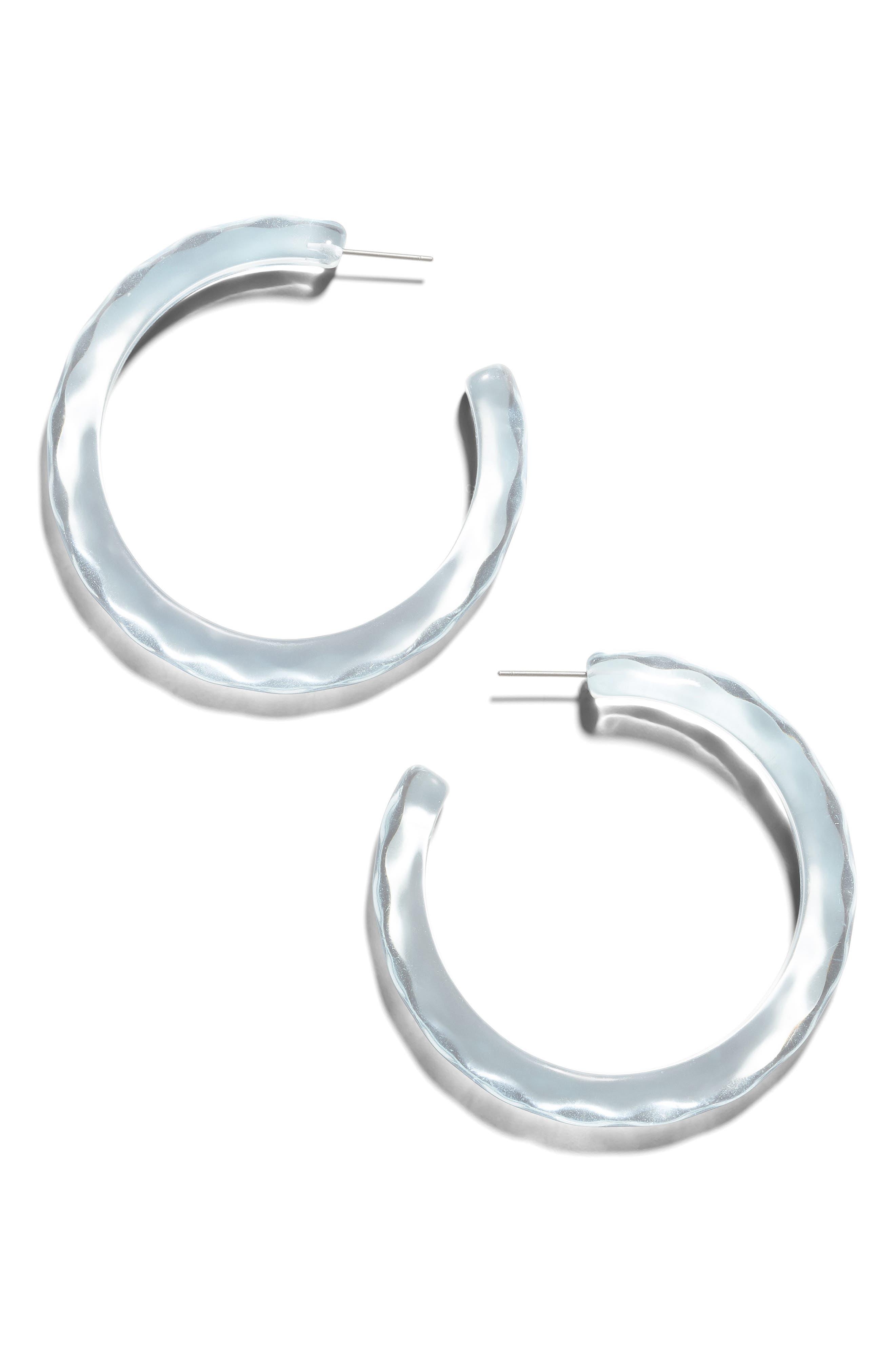 BAUBLEBAR, Helia Medium Textured Hoop Earrings, Main thumbnail 1, color, BLUE