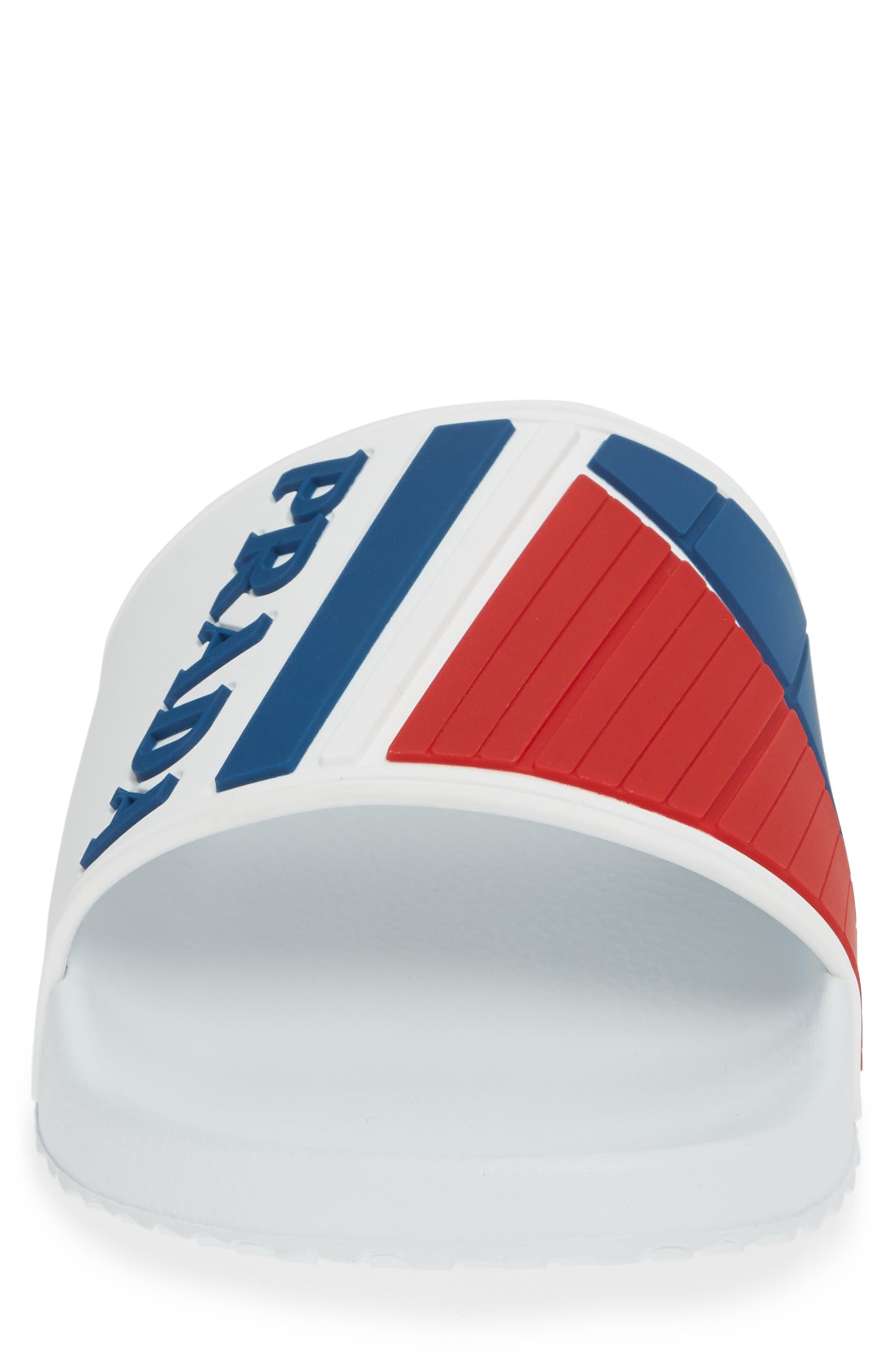 PRADA, Linea Rossa Logo Slide Sandal, Alternate thumbnail 4, color, WHITE/ BLUE