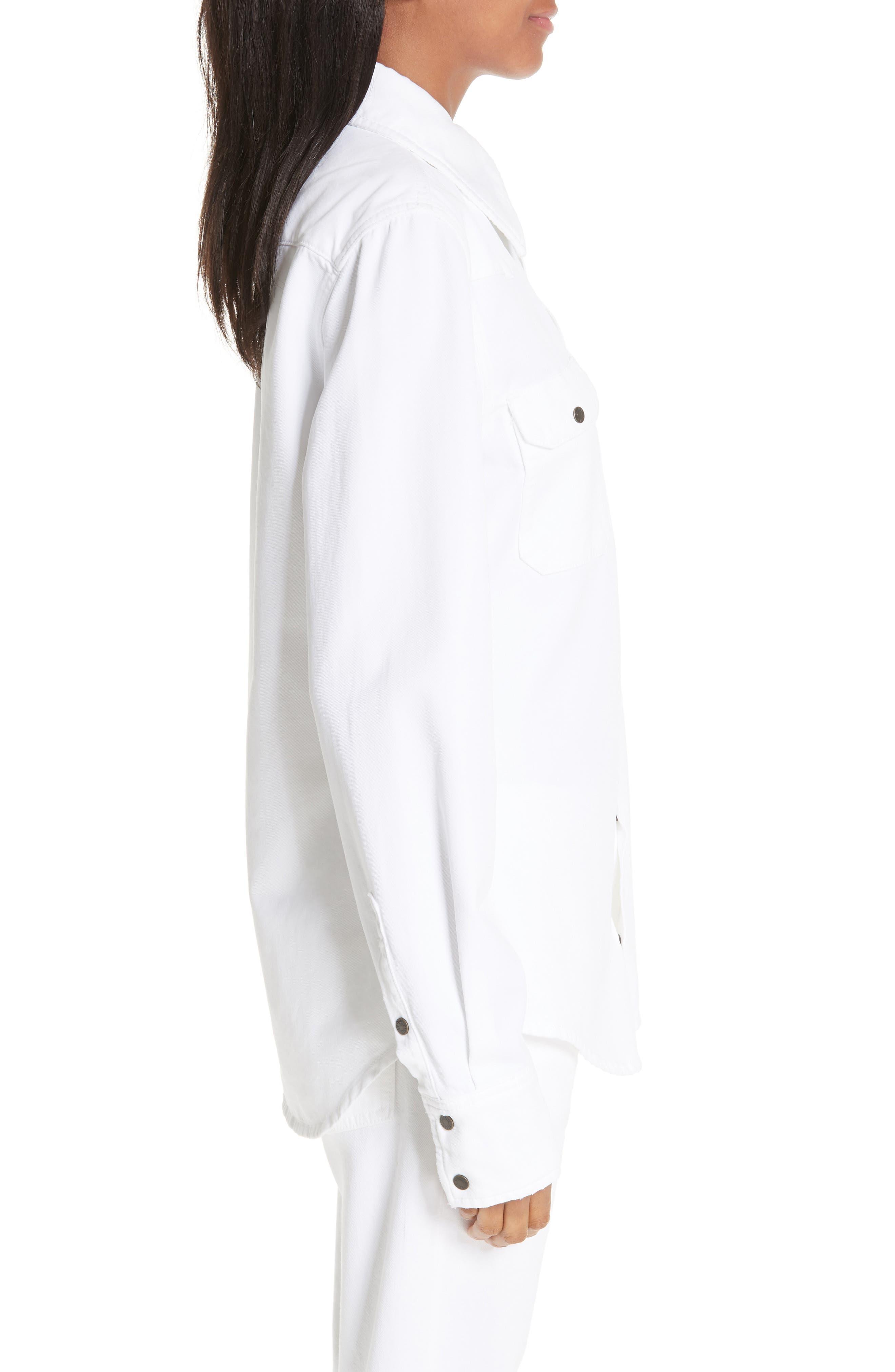 CALVIN KLEIN 205W39NYC, Denim Shirt, Alternate thumbnail 4, color, OPTIC WHITE