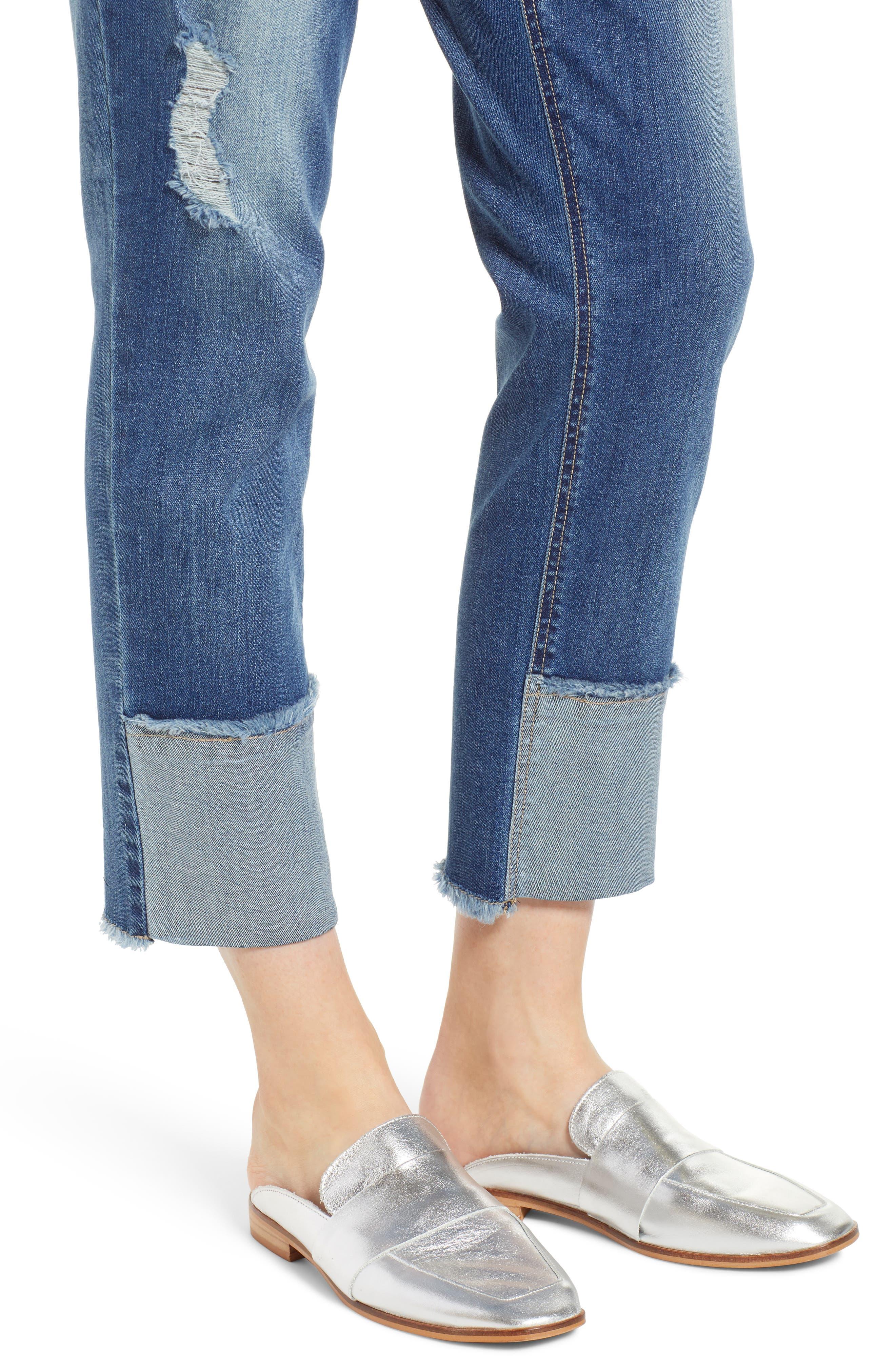WIT & WISDOM, Flex-ellent Distressed Straight Leg Jeans, Alternate thumbnail 5, color, BLUE