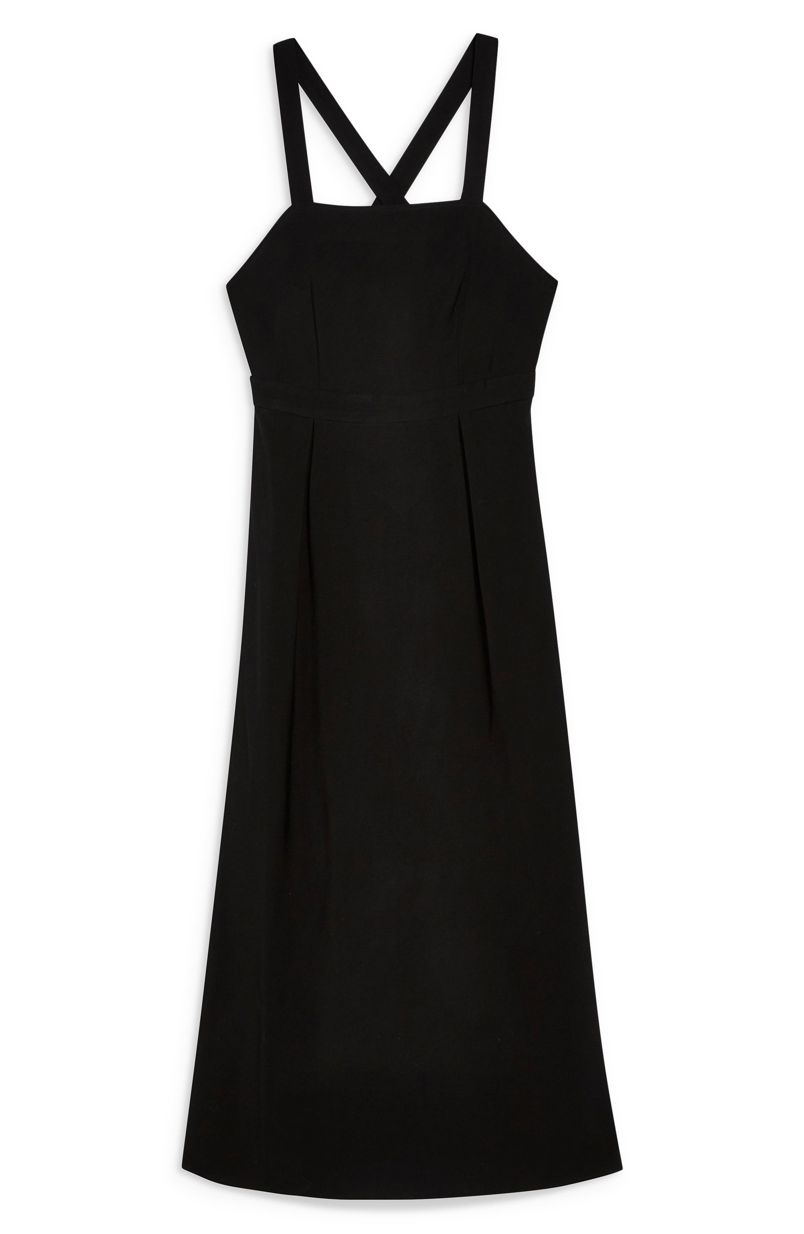 TOPSHOP, Tilda Pinafore Midi Dress, Alternate thumbnail 3, color, BLACK