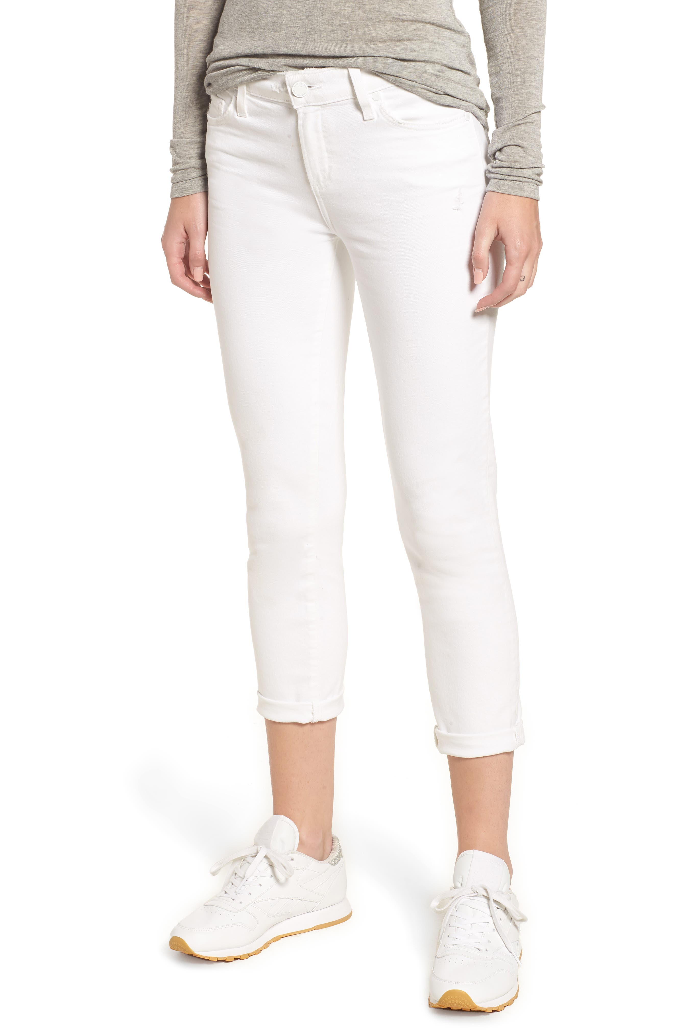 PAIGE Skyline Raw Hem Crop Skinny Jeans, Main, color, LIVED IN CRISP WHITE