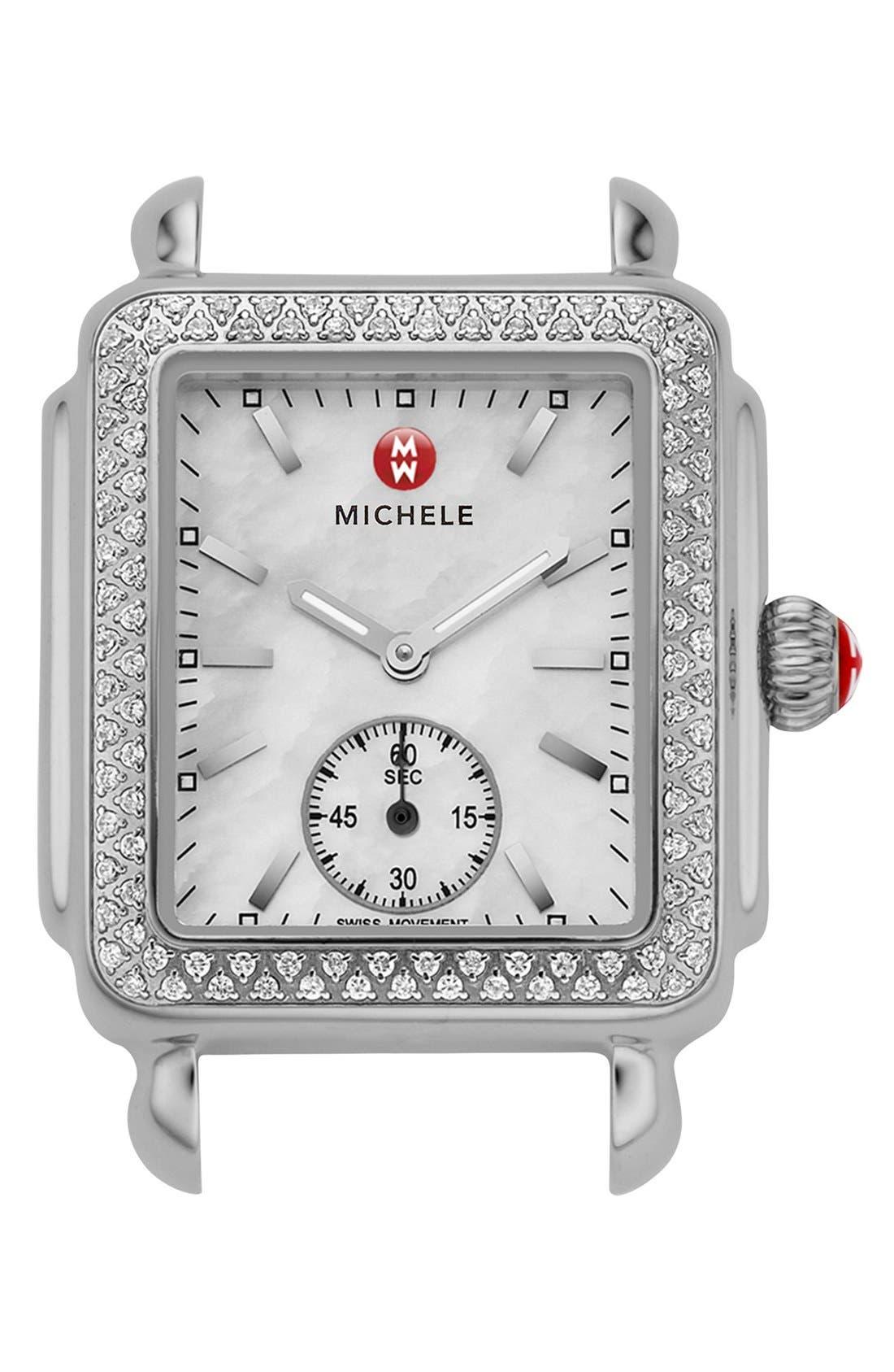MICHELE Deco 16 Diamond Watch Head, 29mm x 31mm, Main, color, SILVER