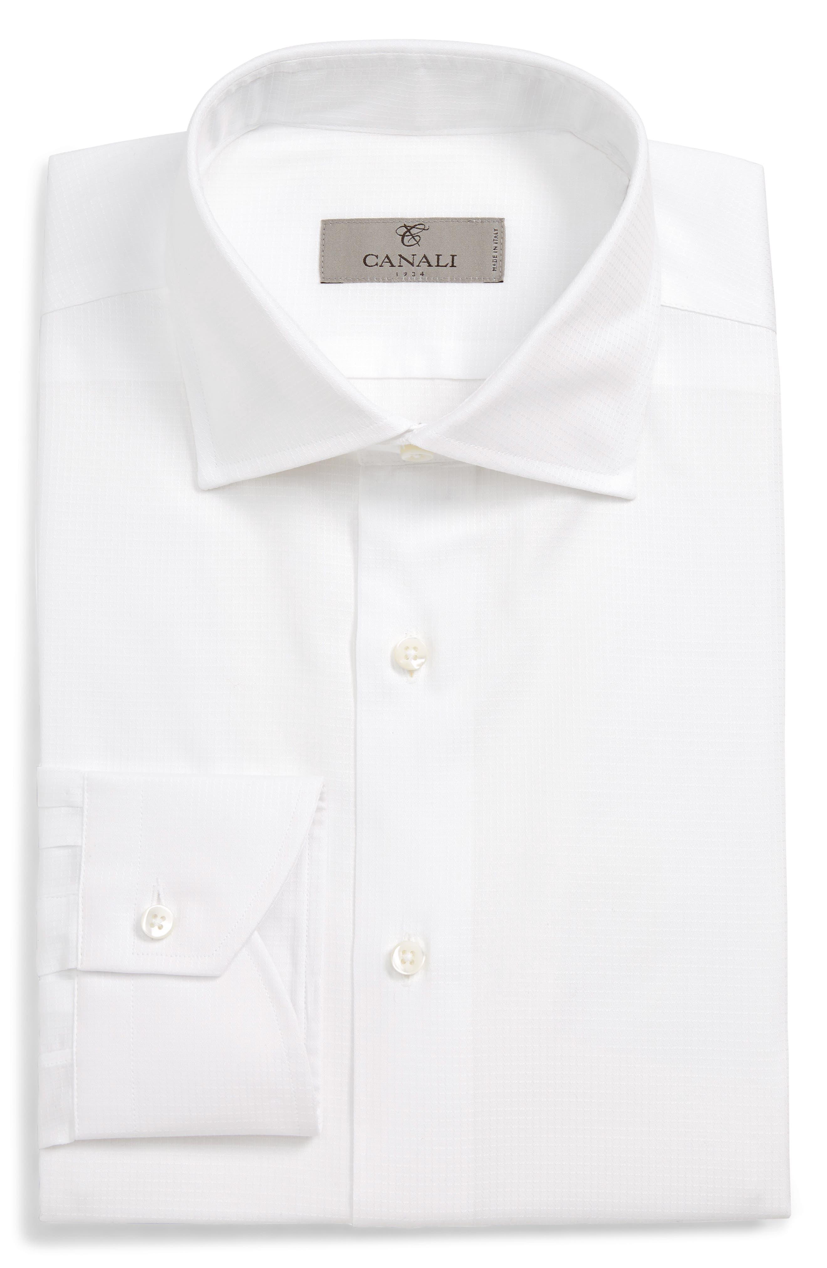 CANALI, Regular Fit Solid Dress Shirt, Main thumbnail 1, color, WHITE