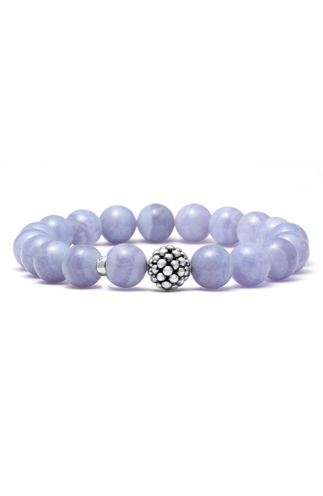 LAGOS, Bead Stretch Bracelet, Main thumbnail 1, color, BLUE LACE AGATE