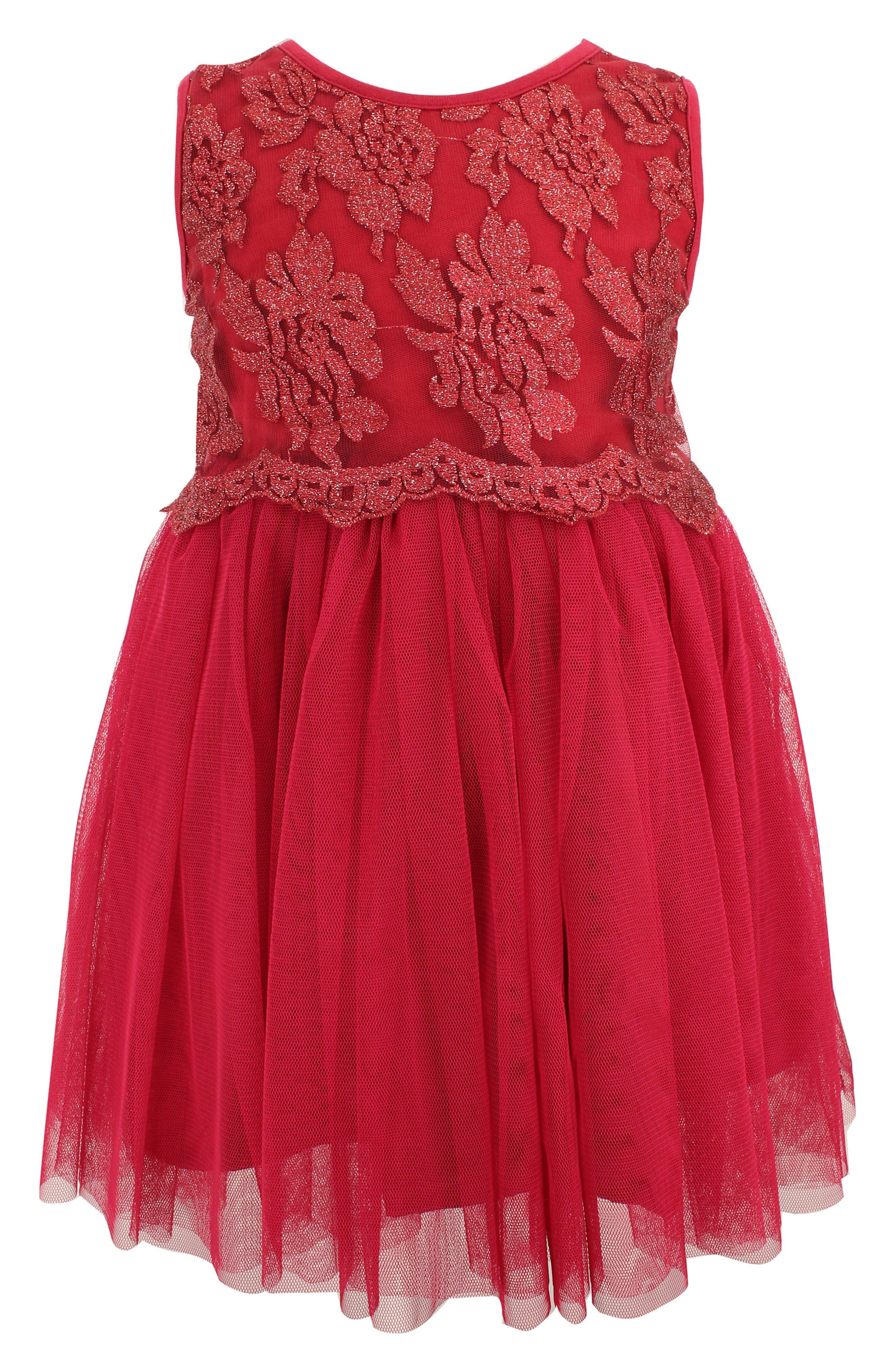 POPATU Lace Tulle Dress, Main, color, BURGUNDY