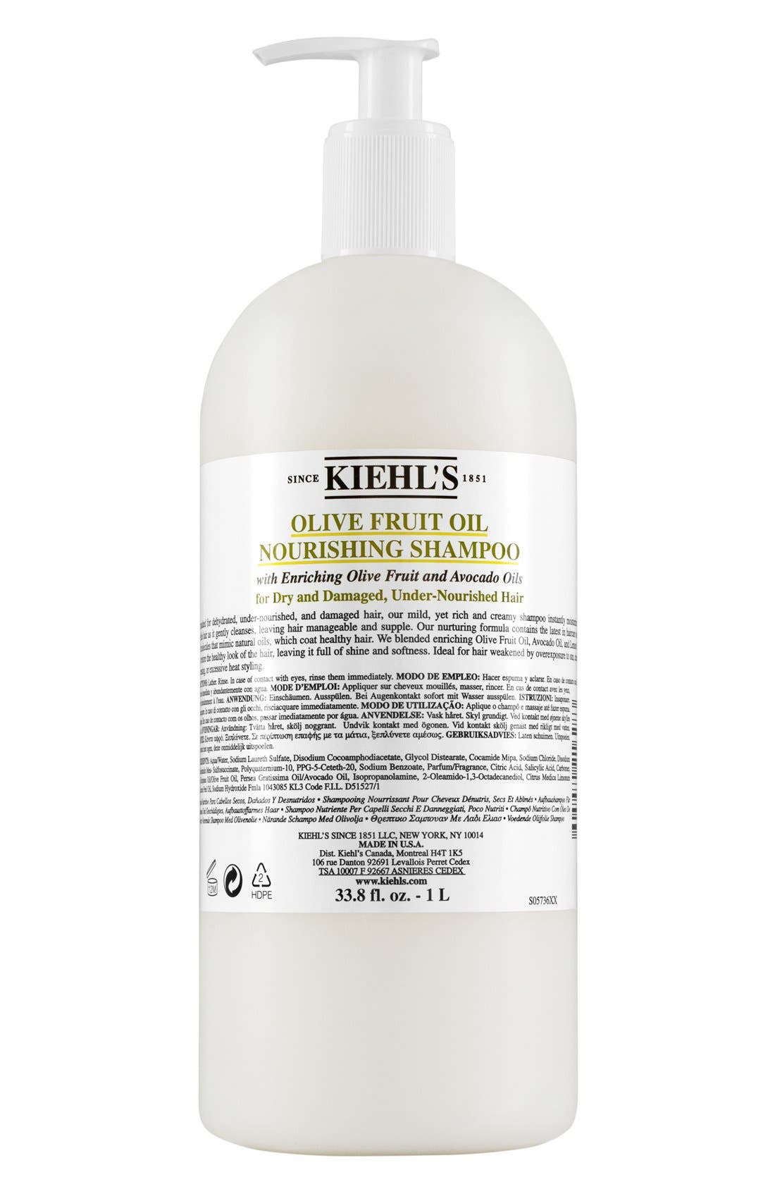KIEHL'S SINCE 1851, Olive Fruit Oil Nourishing Shampoo, Alternate thumbnail 5, color, NO COLOR