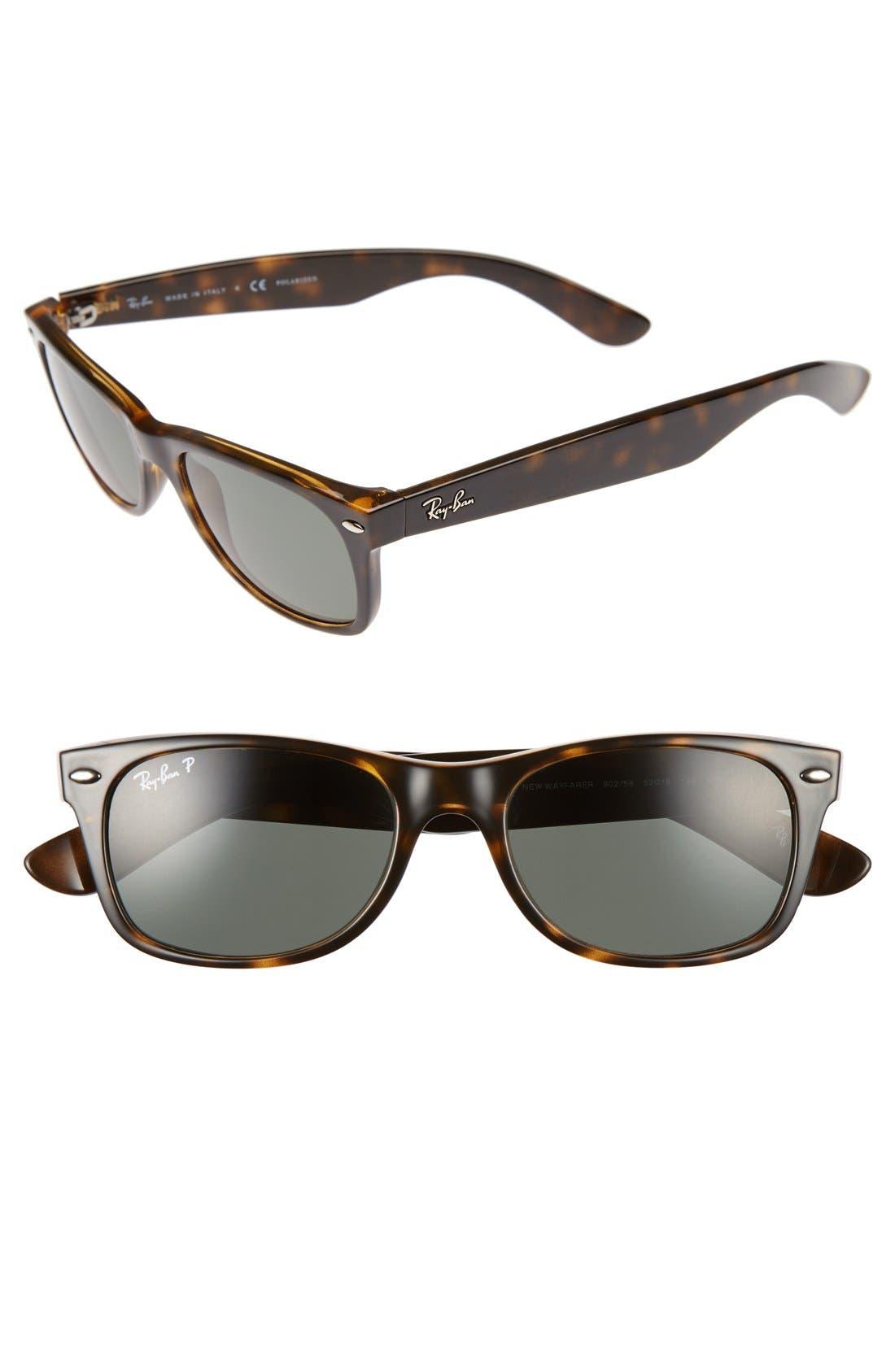 RAY-BAN, Small New Wayfarer 52mm Polarized Sunglasses, Alternate thumbnail 4, color, TORTOISE