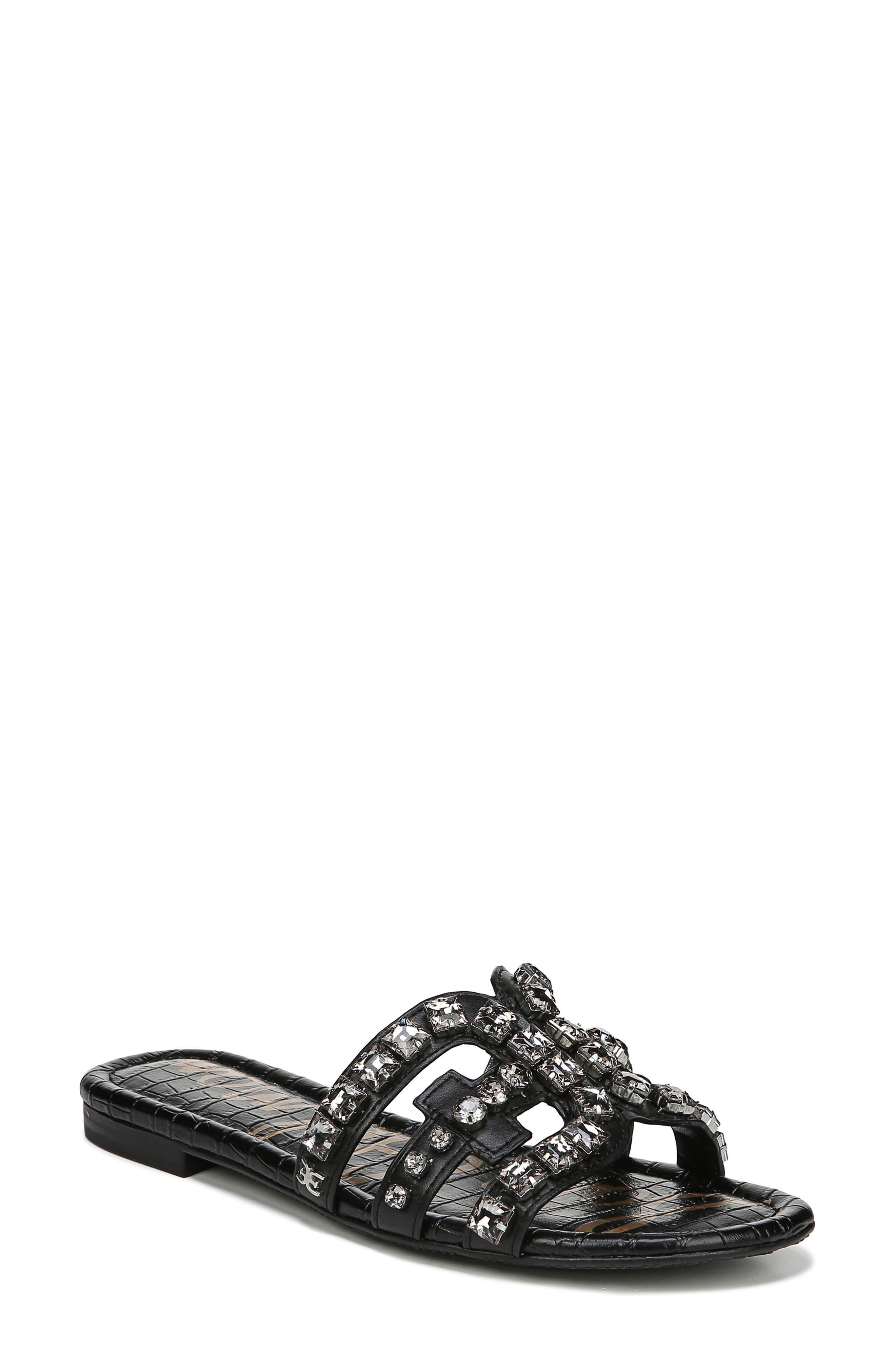 SAM EDELMAN Bay 2 Embellished Slide Sandal, Main, color, BLACK NAPPA LEATHER