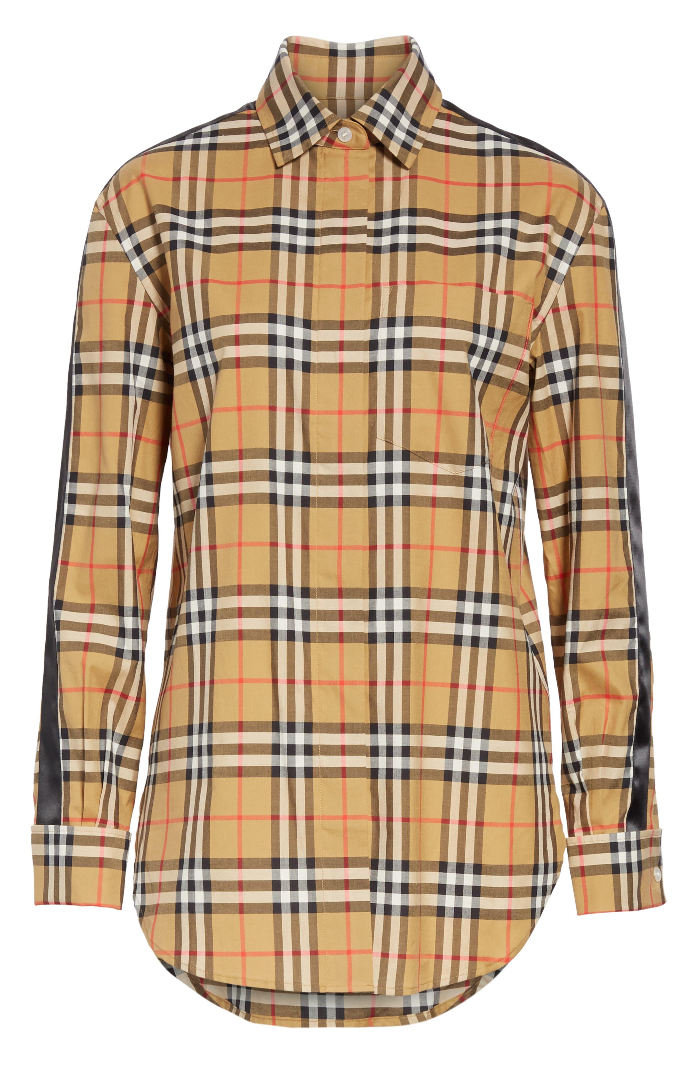 BURBERRY, Saoirse Vintage Check Cotton Shirt, Alternate thumbnail 7, color, ANTIQUE YELLOW CHECK