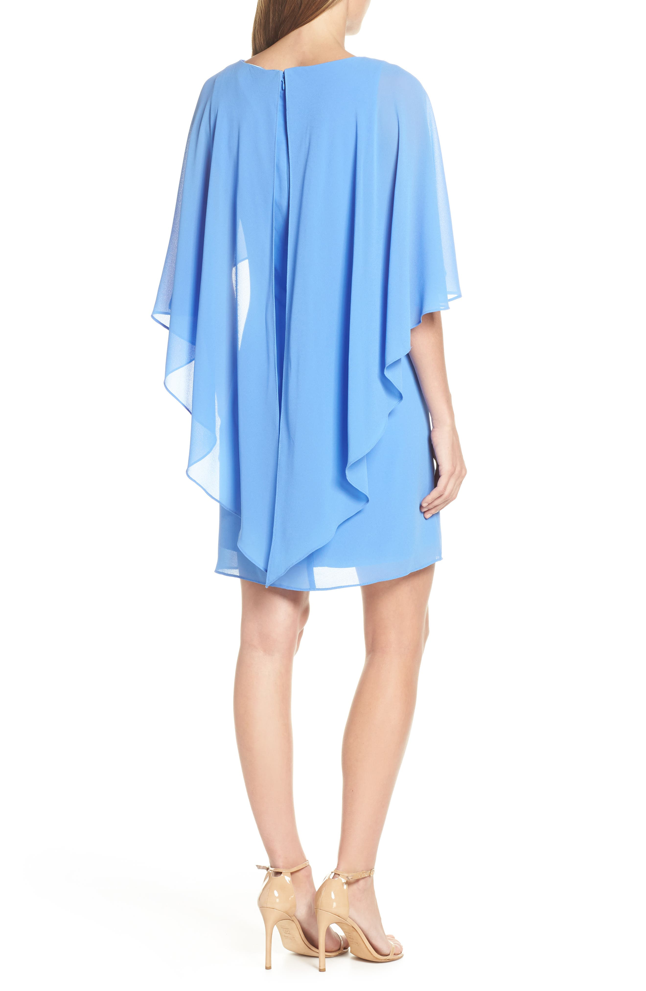 VINCE CAMUTO, Cape Overlay Dress, Alternate thumbnail 2, color, PERIWINKLE