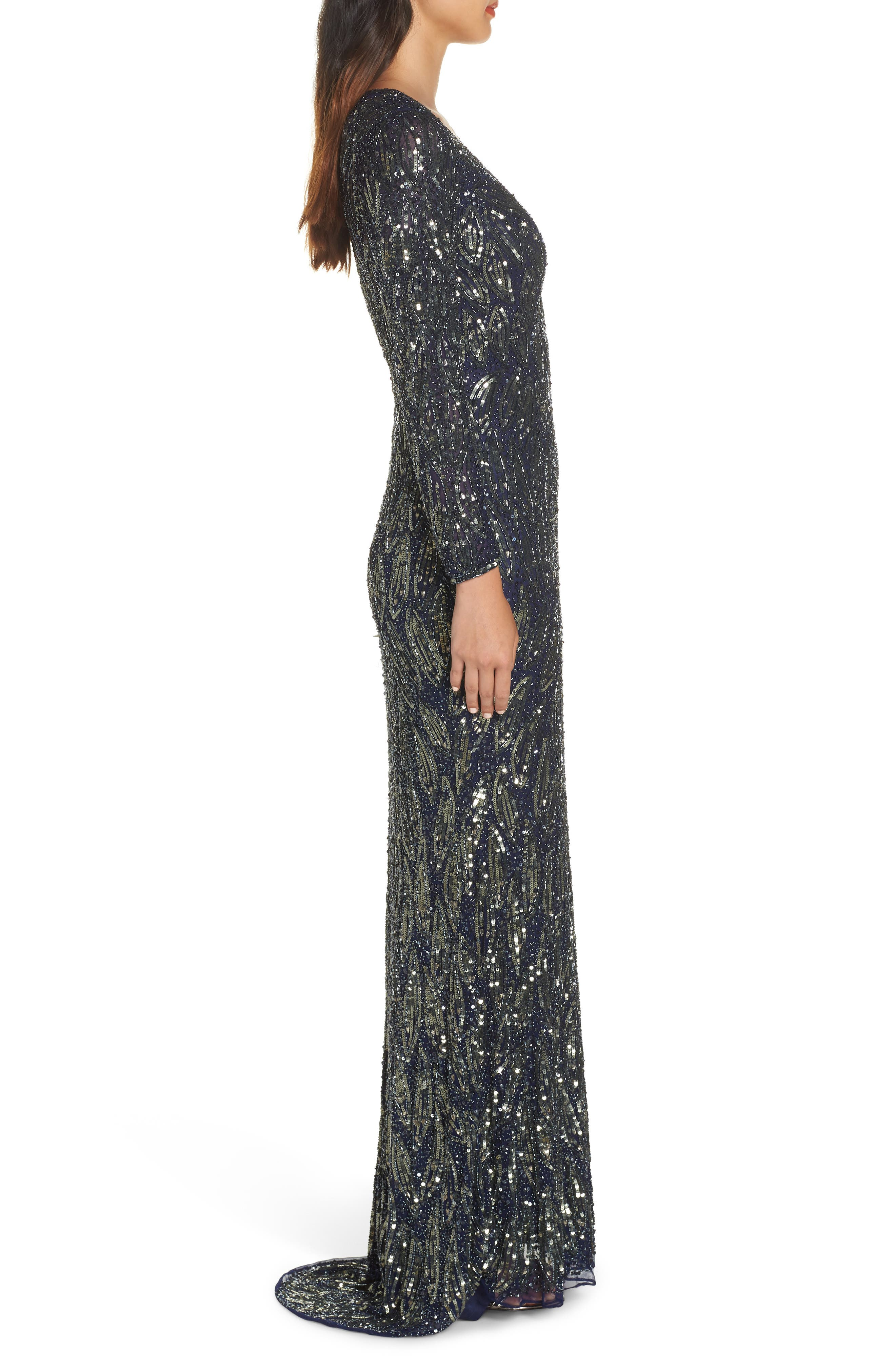 MAC DUGGAL, Beaded Long Sleeve Gown, Alternate thumbnail 4, color, MIDNIGHT