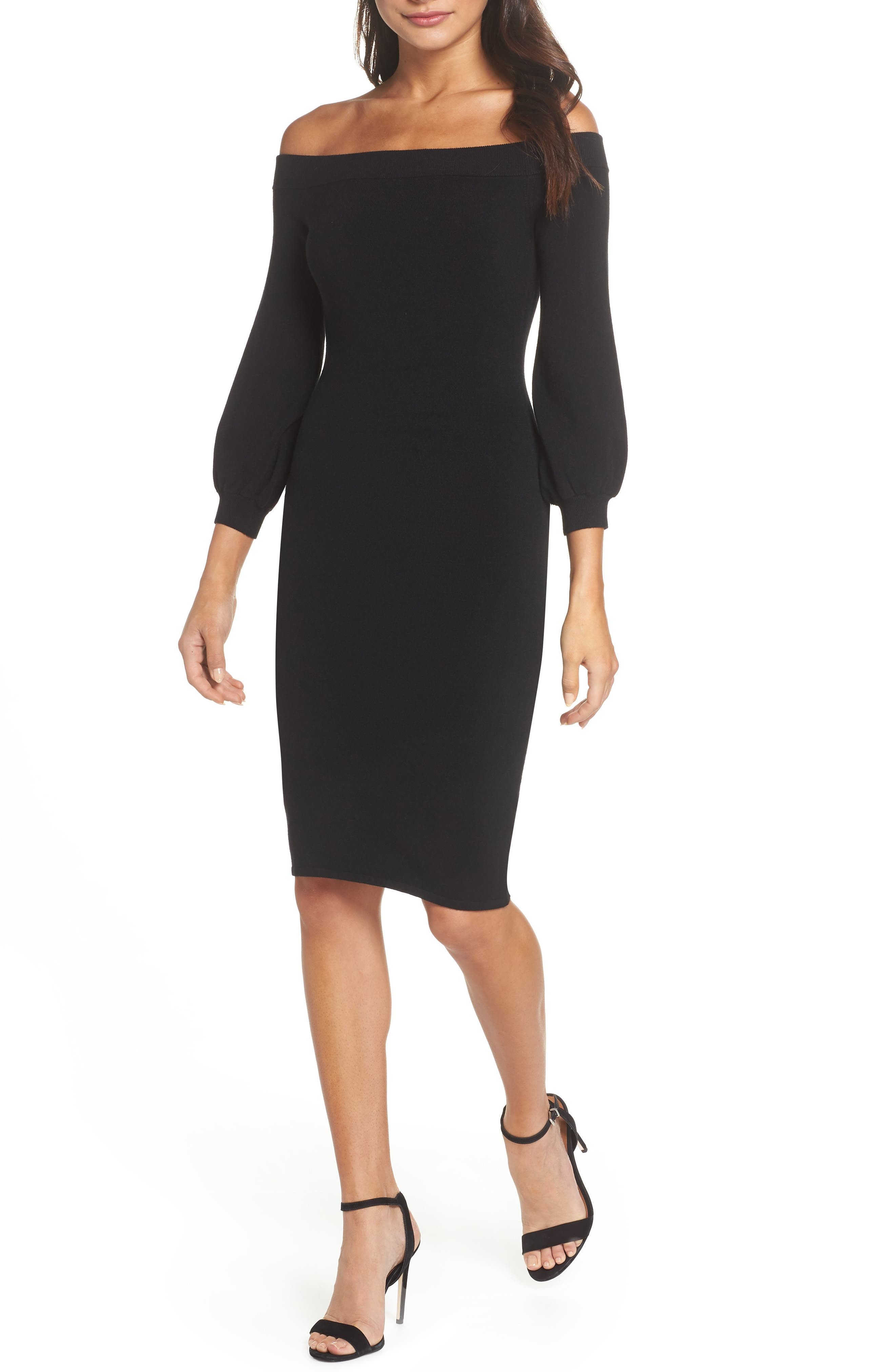 ALI & JAY, Standing Strong Off the Shoulder Midi Sweater Dress, Main thumbnail 1, color, 001