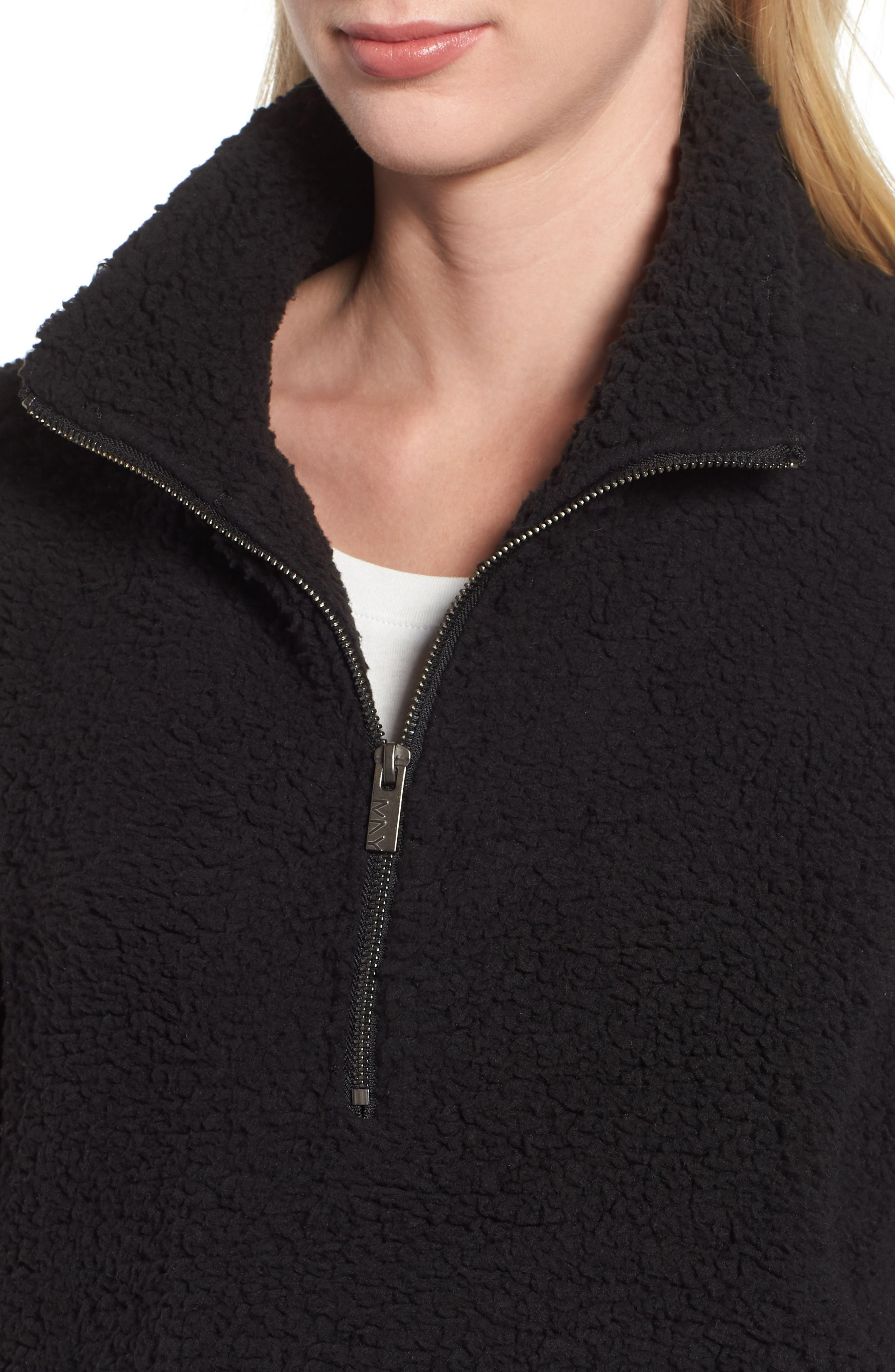 MARC NEW YORK, Teddy Faux Shearling Quarter Zip Jacket, Alternate thumbnail 5, color, BLACK