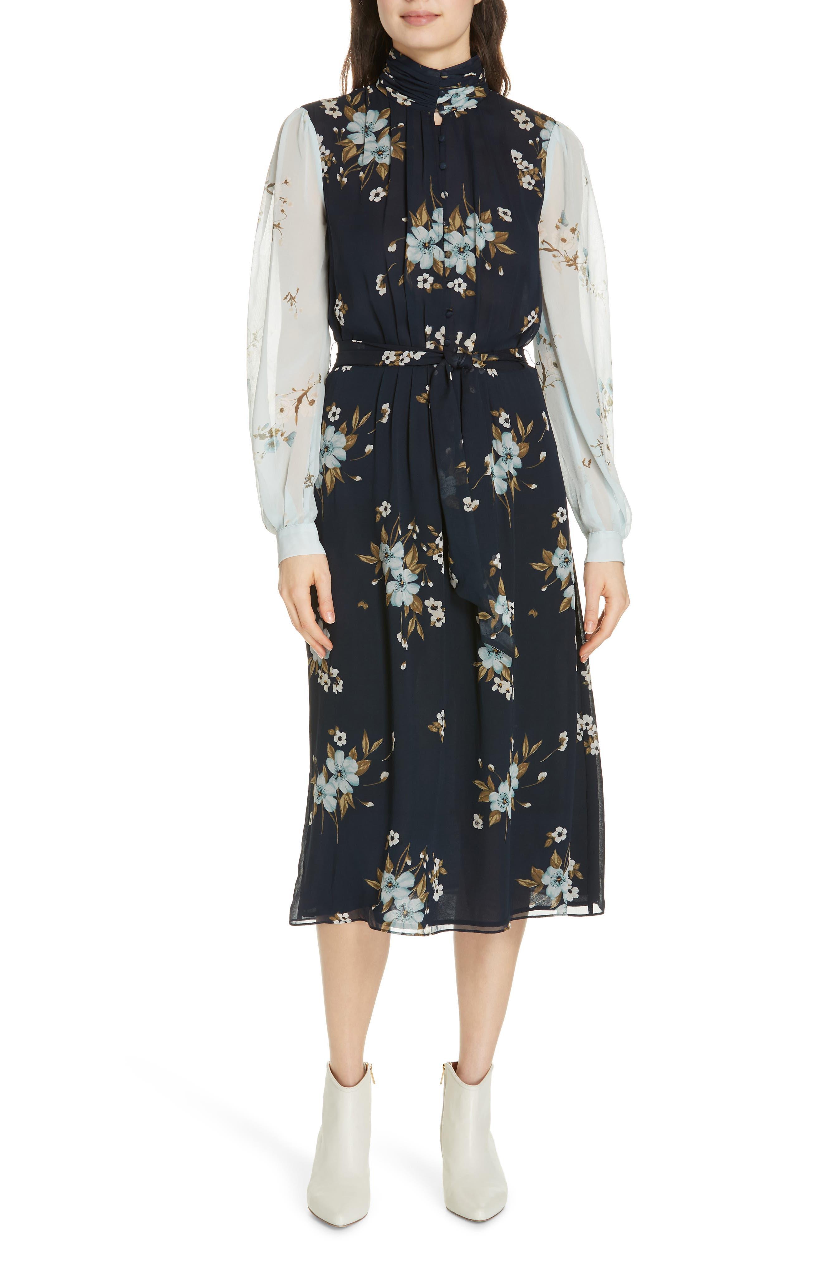 JOIE, Abbryana Silk Chiffon High Neck Dress, Main thumbnail 1, color, 440