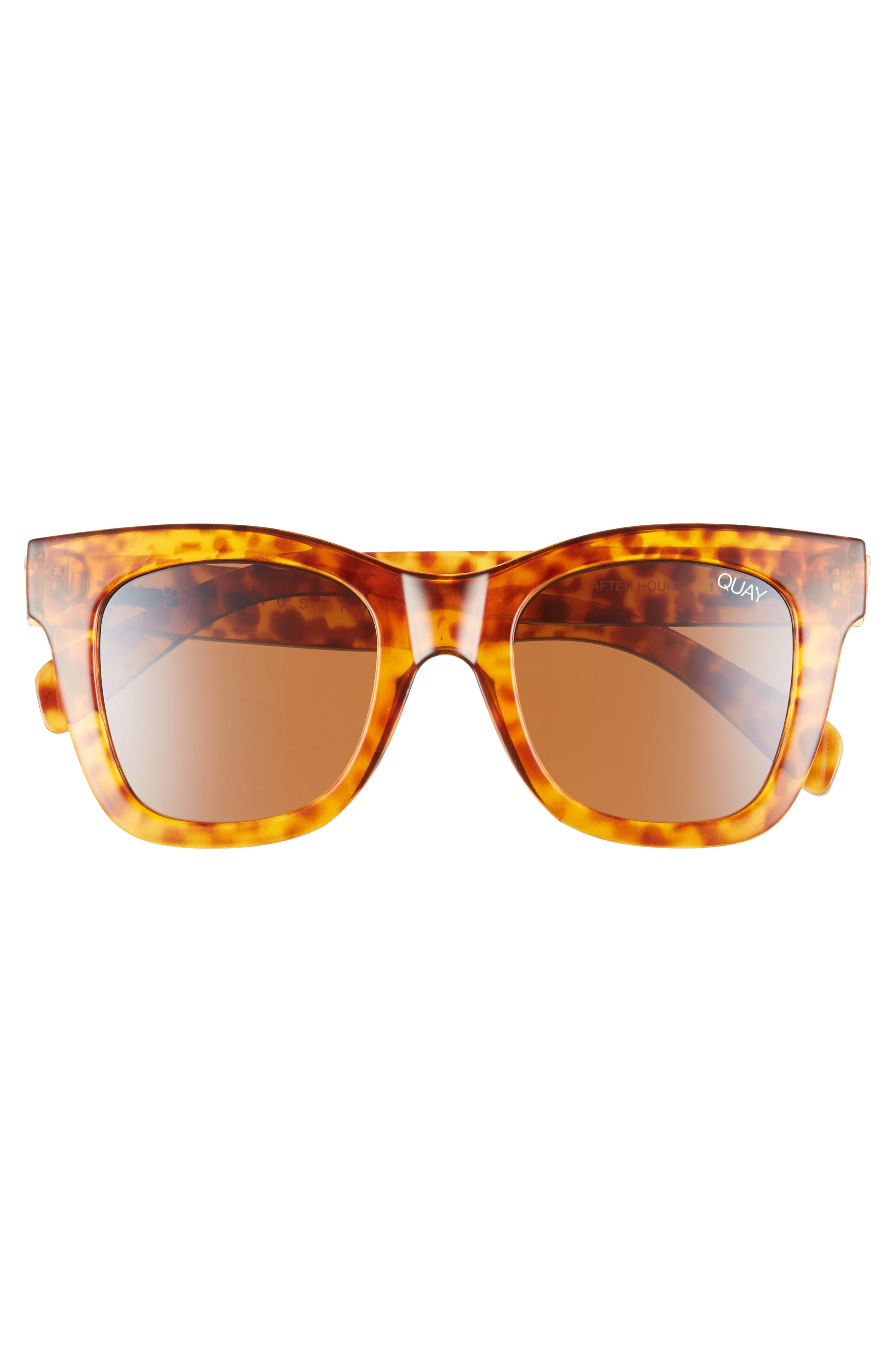 QUAY AUSTRALIA, After Hours 50mm Square Sunglasses, Alternate thumbnail 3, color, ORANGE TORT / BROWN