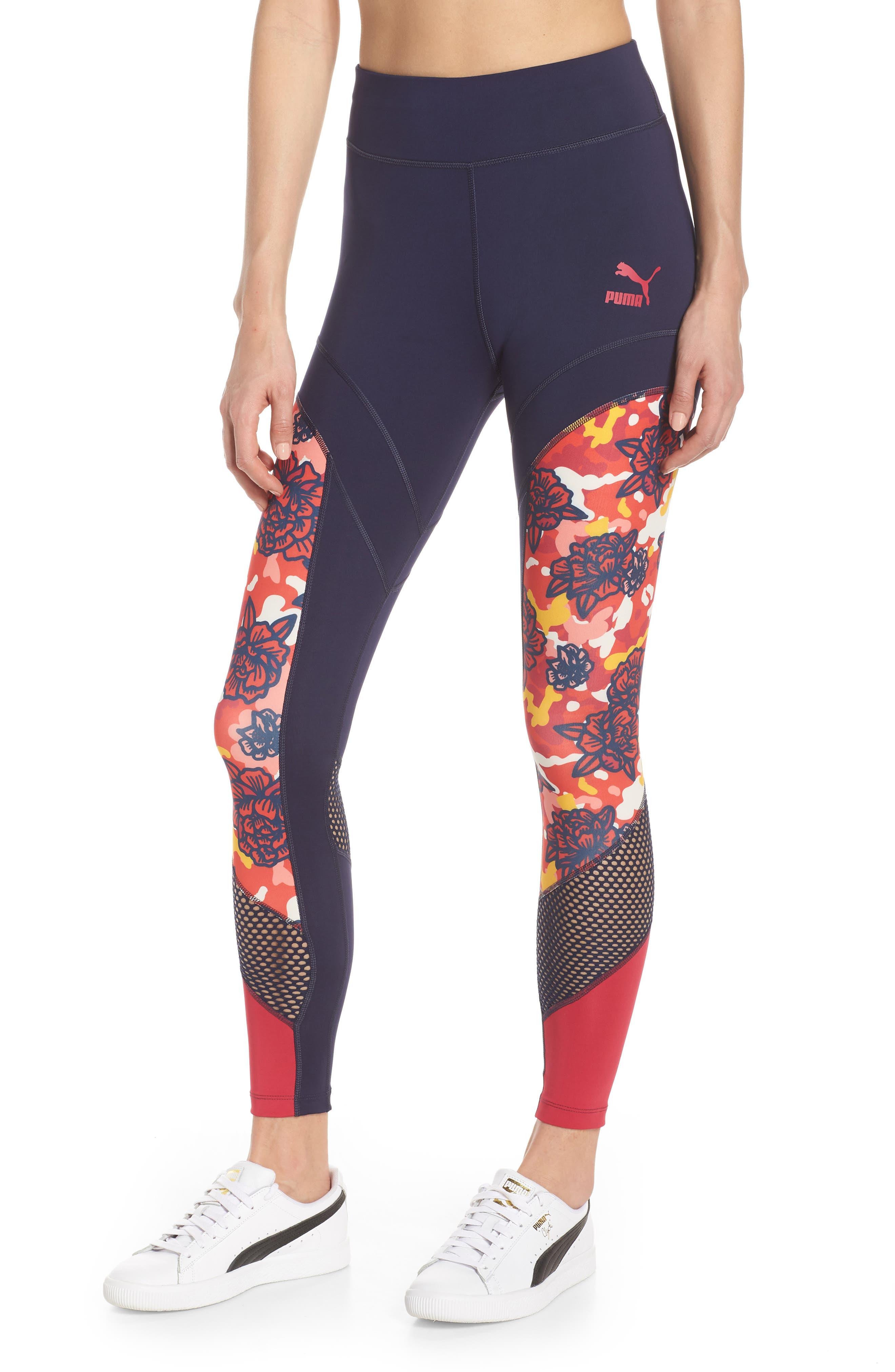 PUMA, Flourish Flourish XTG Leggings, Main thumbnail 1, color, PEACOAT-HIBISCUS MULTI
