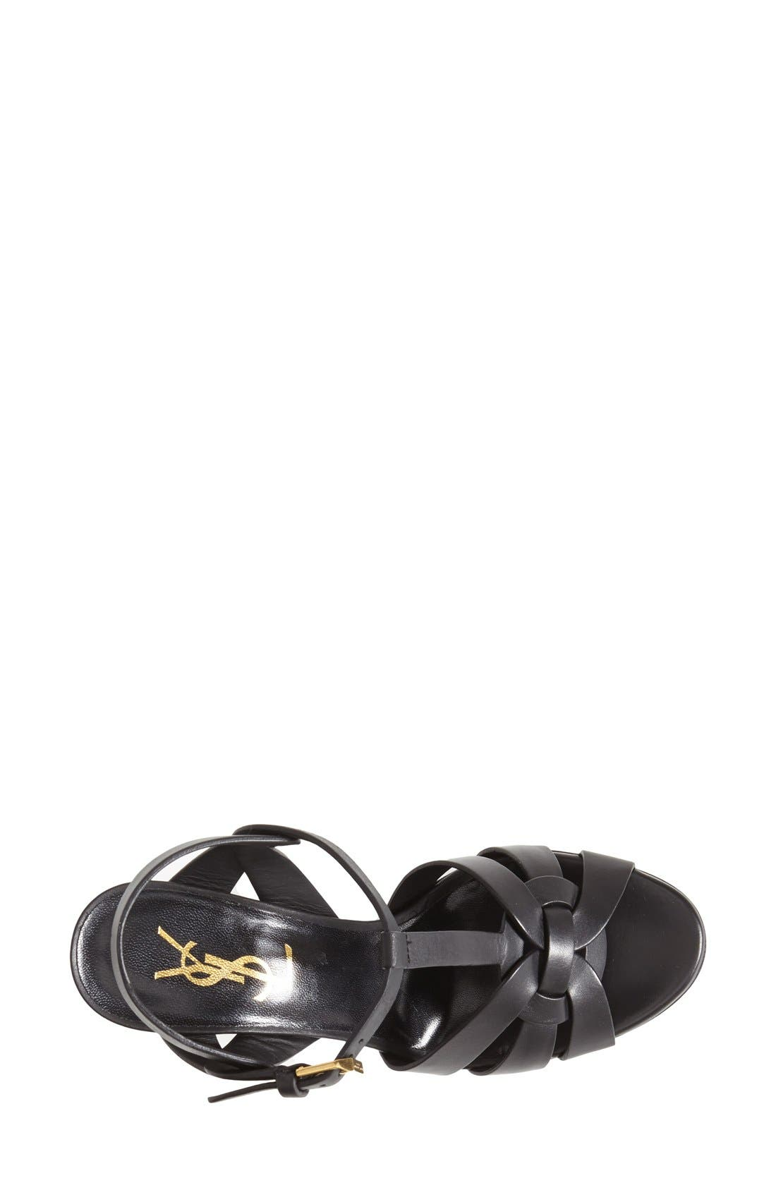 SAINT LAURENT, Tribute T-Strap Sandal, Alternate thumbnail 3, color, 001