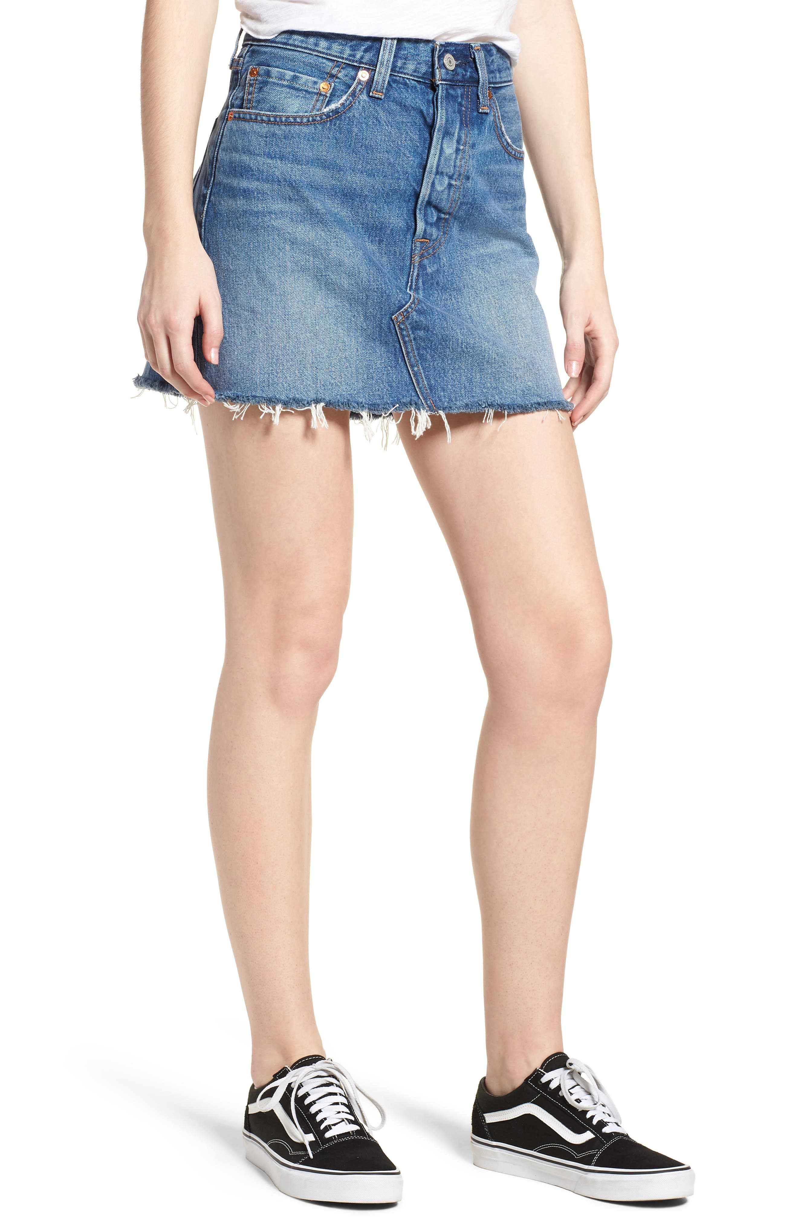 LEVI'S<SUP>®</SUP>, Deconstructed Denim Skirt, Main thumbnail 1, color, MIDDLE MAN