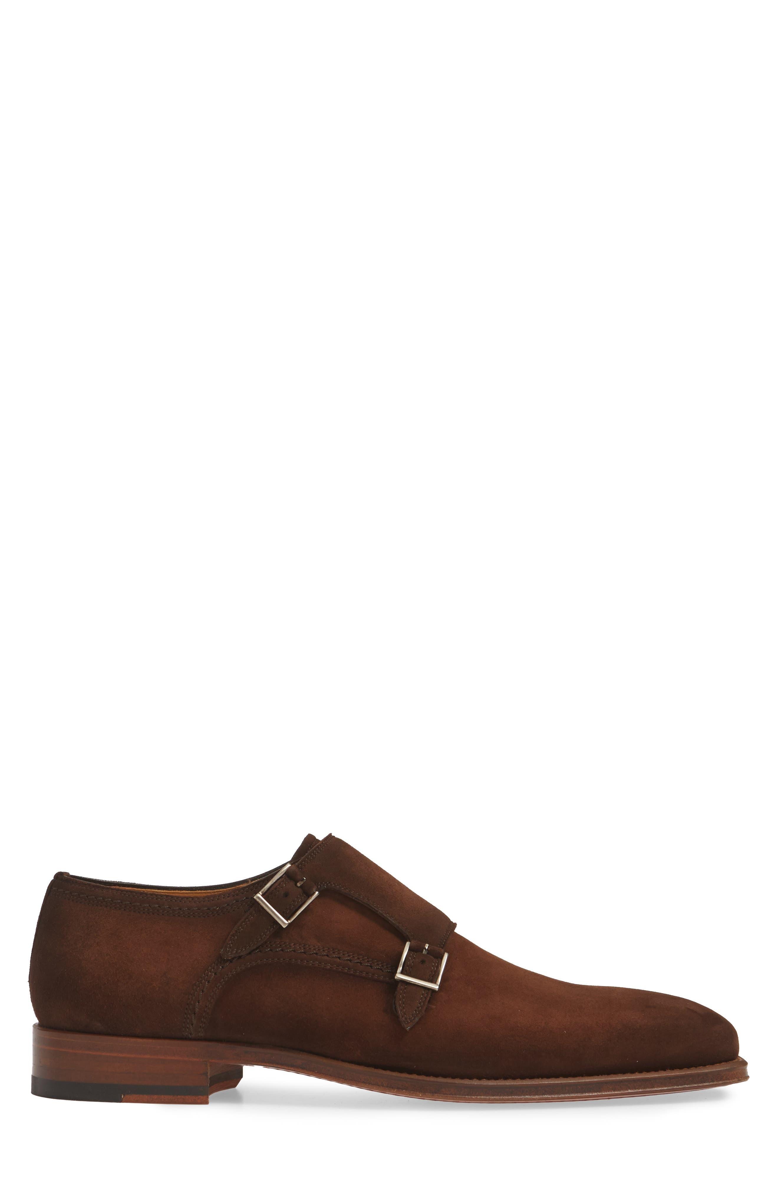 MAGNANNI, Landon Double Strap Monk Shoe, Alternate thumbnail 3, color, MID BROWN