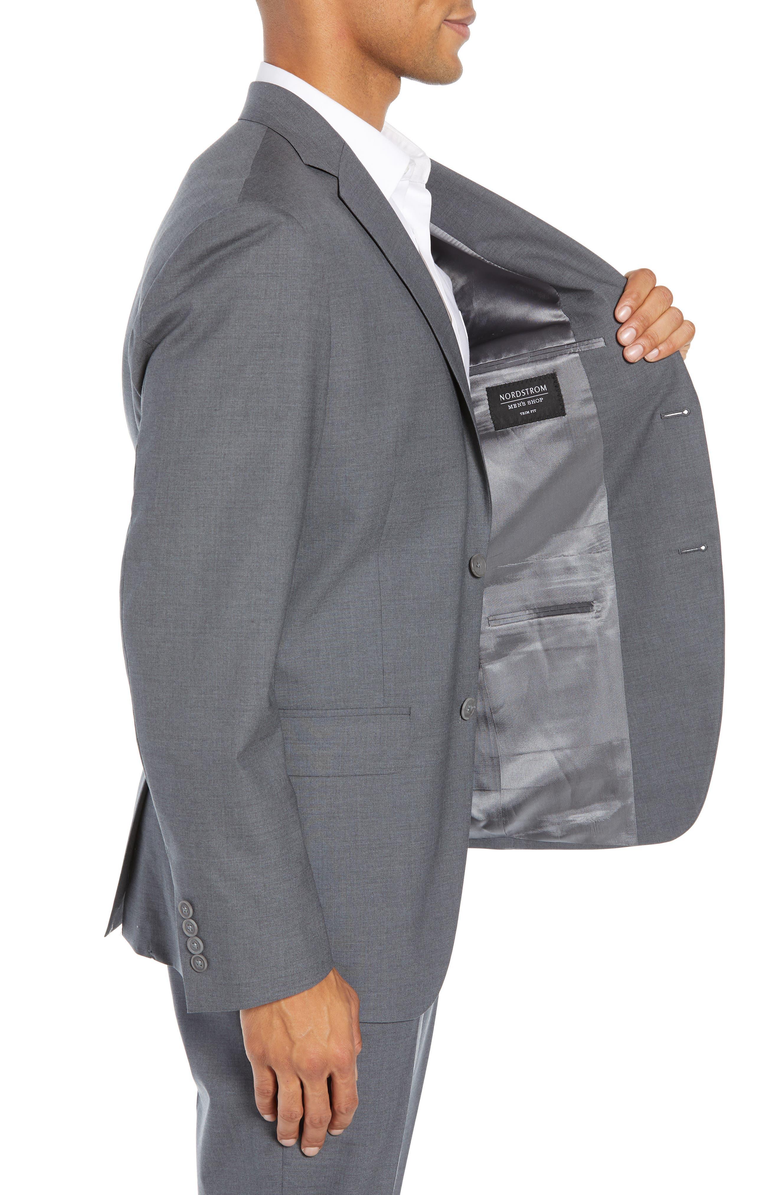 NORDSTROM MEN'S SHOP, Tech-Smart Trim Fit Stretch Wool Travel Sport Coat, Alternate thumbnail 4, color, GREY