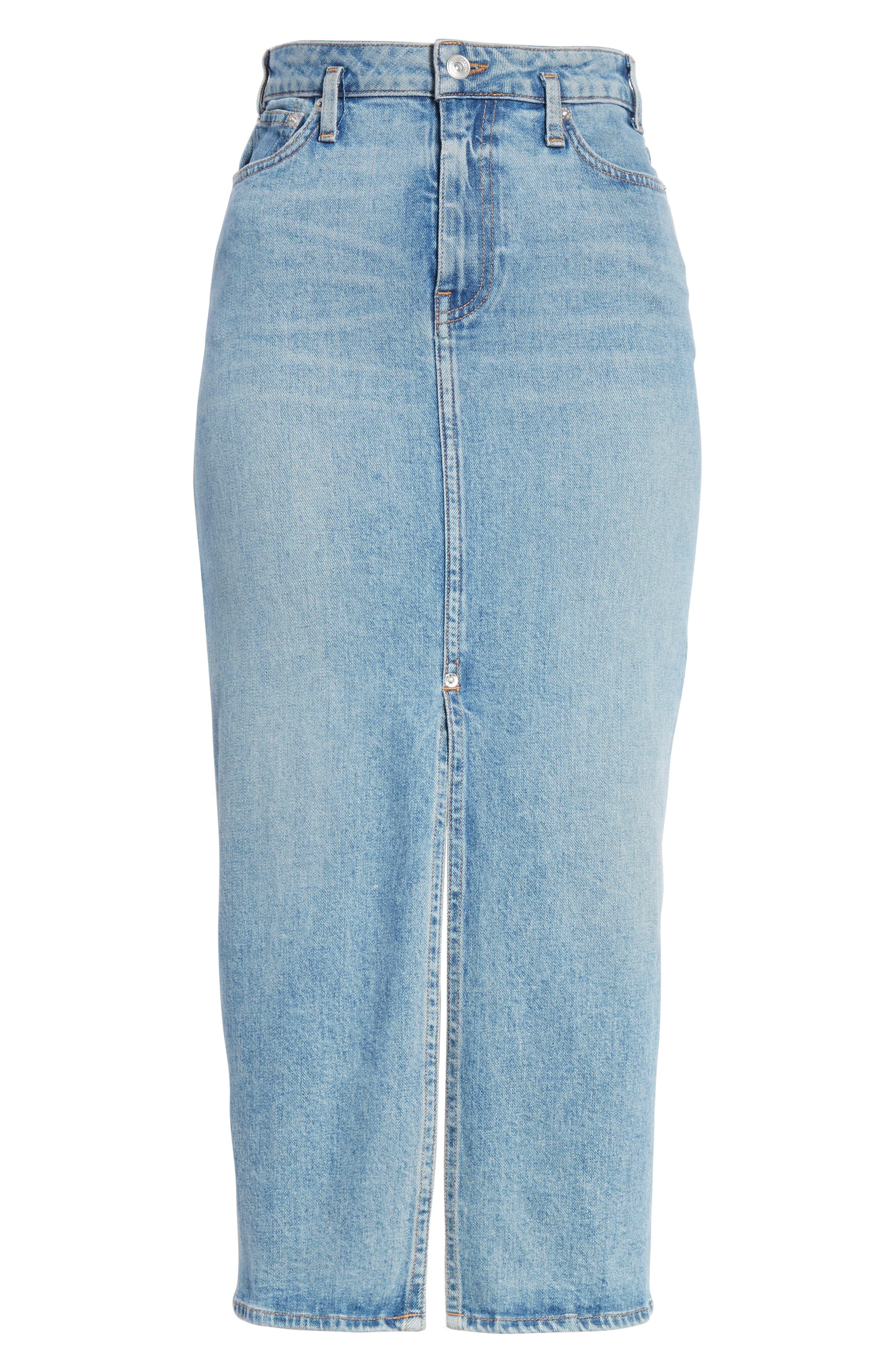 PROENZA SCHOULER, Slit Seam Denim Midi Skirt, Alternate thumbnail 6, color, CALIFORNIA