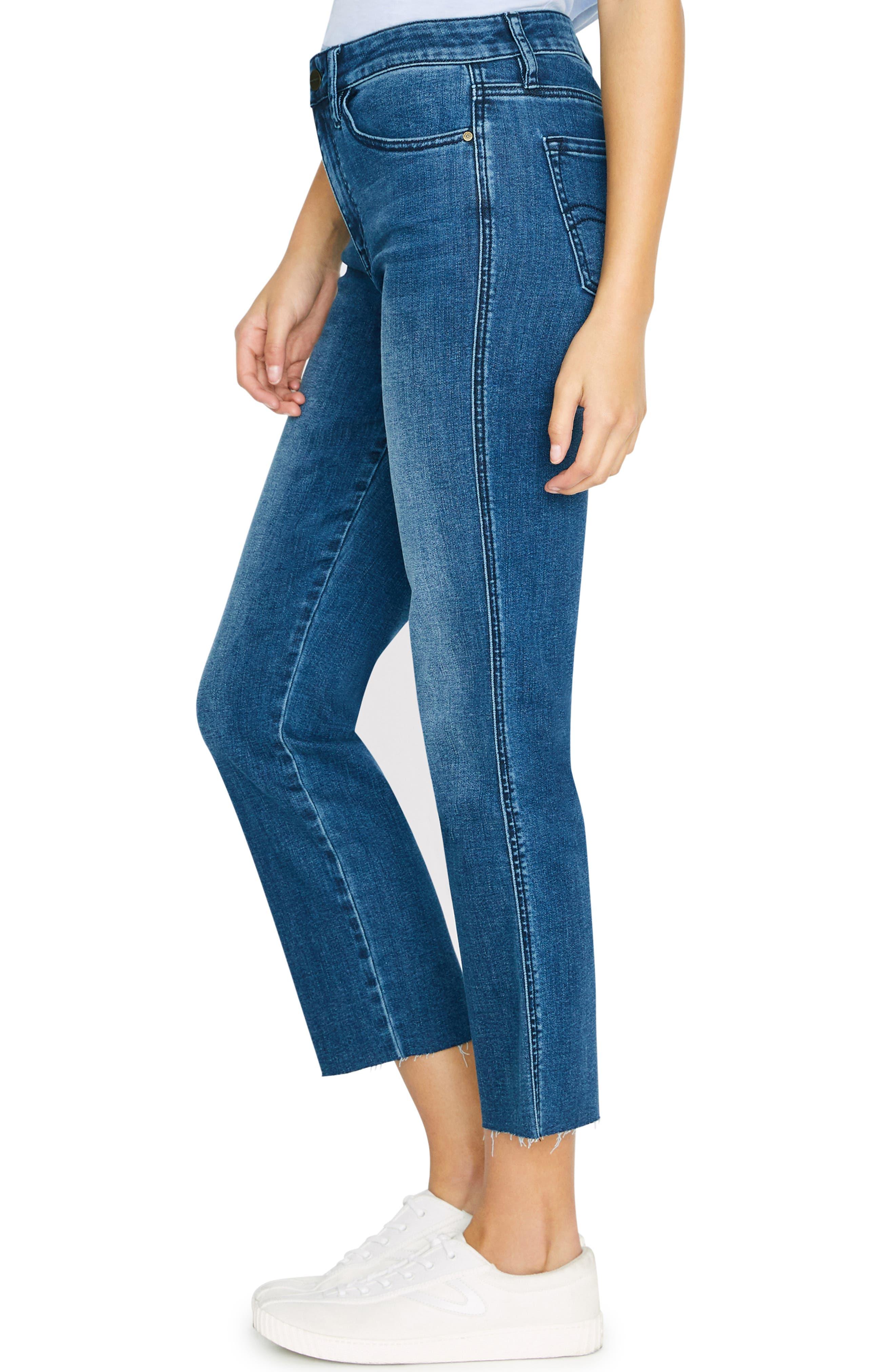 SANCTUARY, Modern Standard High Waist Raw Hem Straight Leg Jeans, Alternate thumbnail 3, color, ELSINORE BLUE