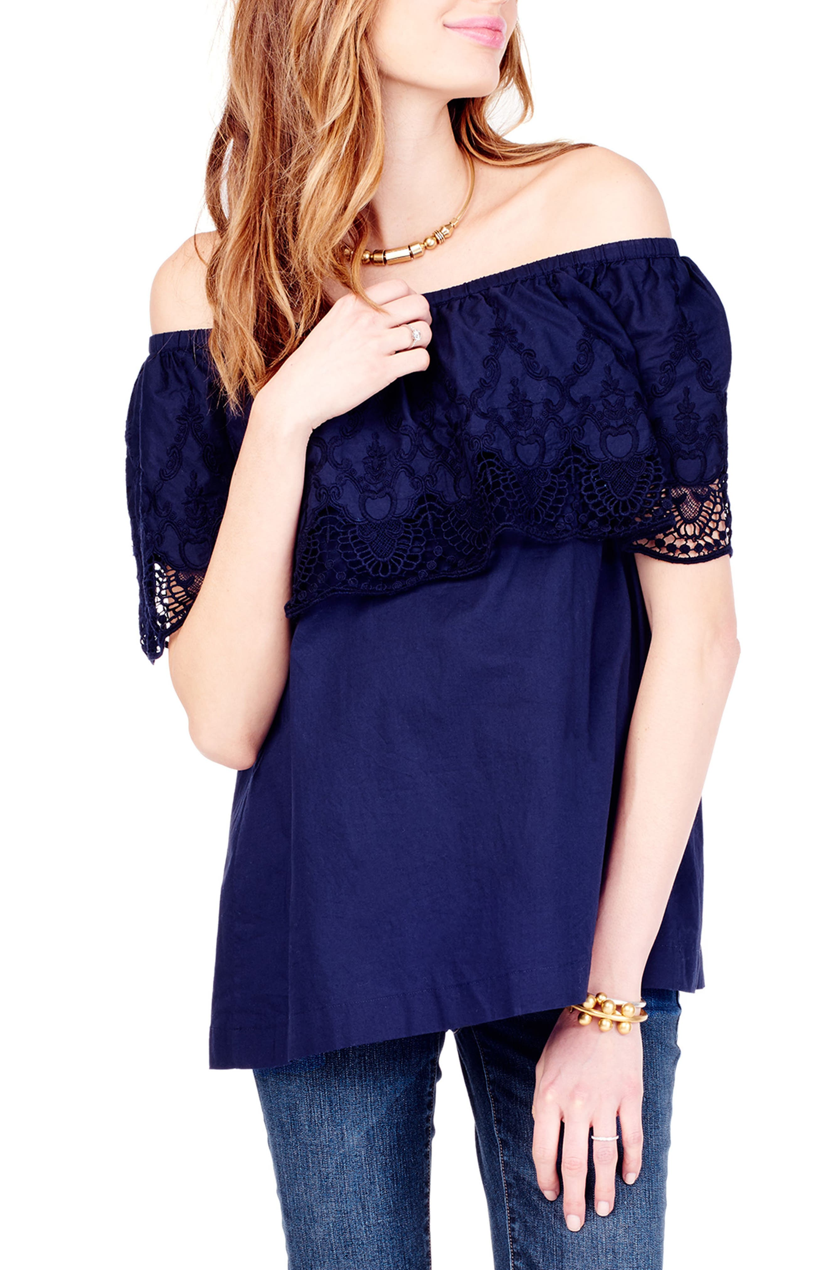 INGRID & ISABEL<SUP>®</SUP>, Lace Off the Shoulder Maternity Top, Alternate thumbnail 3, color, TRUE NAVY