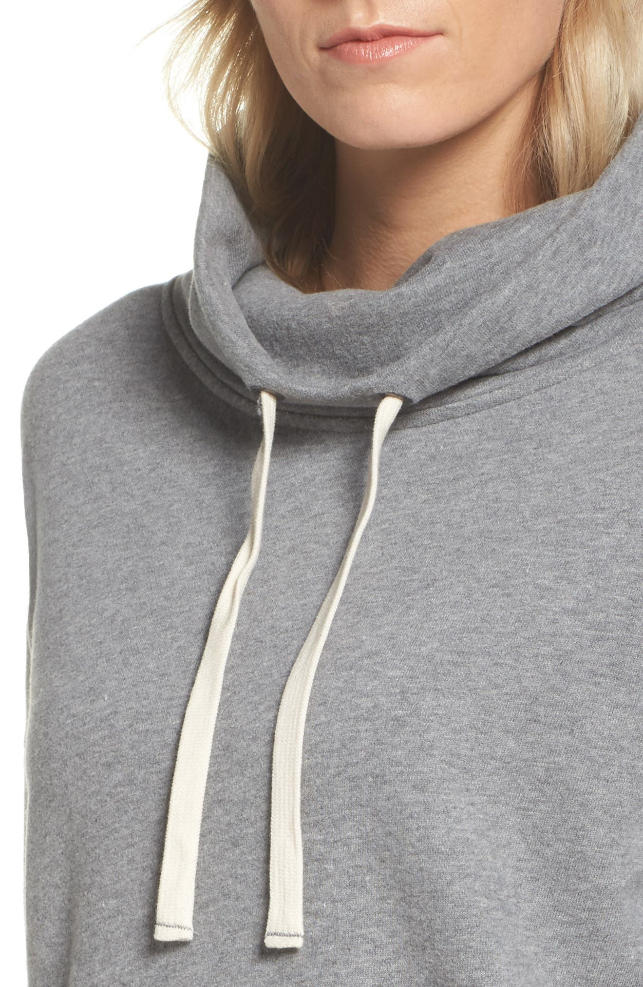 UGG<SUP>®</SUP>, Miya Funnel Neck Sweatshirt, Alternate thumbnail 4, color, GREY HEATHER