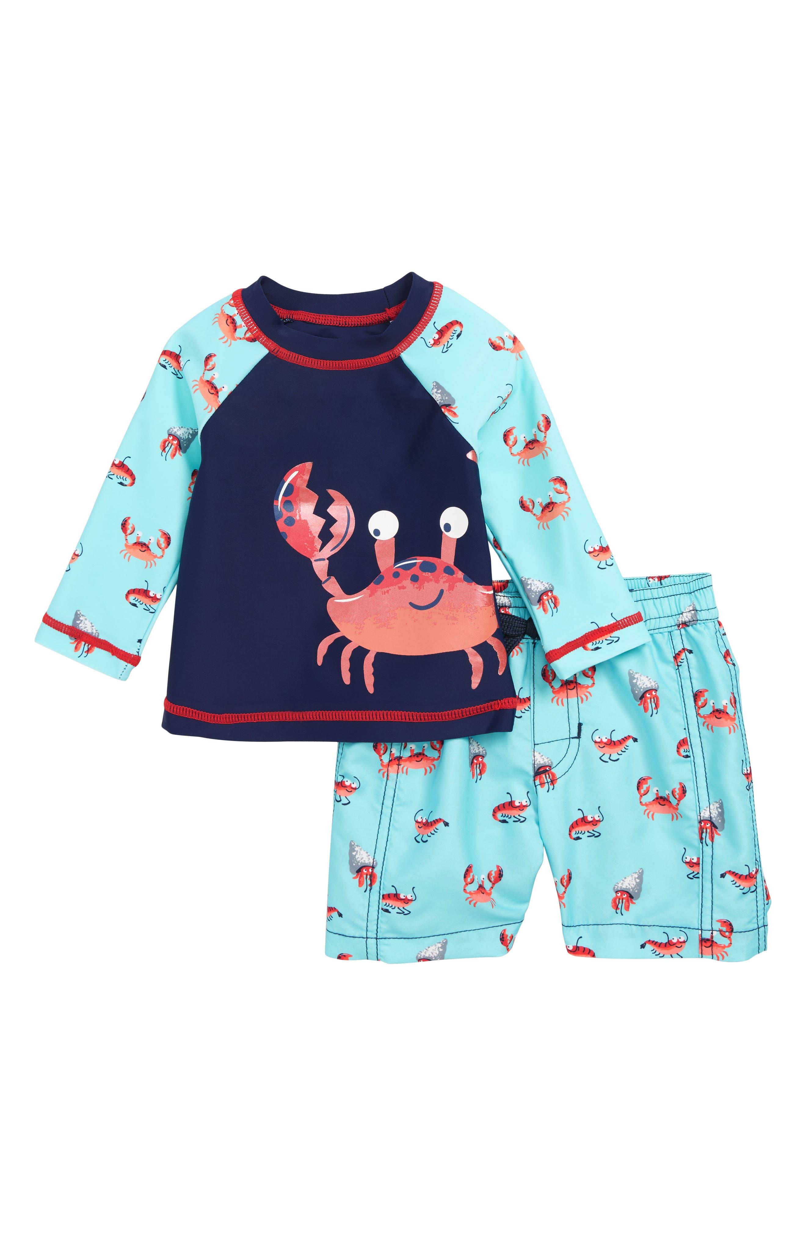 HATLEY, Silly Crustaceans Rashguard & Swim Trunks Set, Main thumbnail 1, color, BLUE
