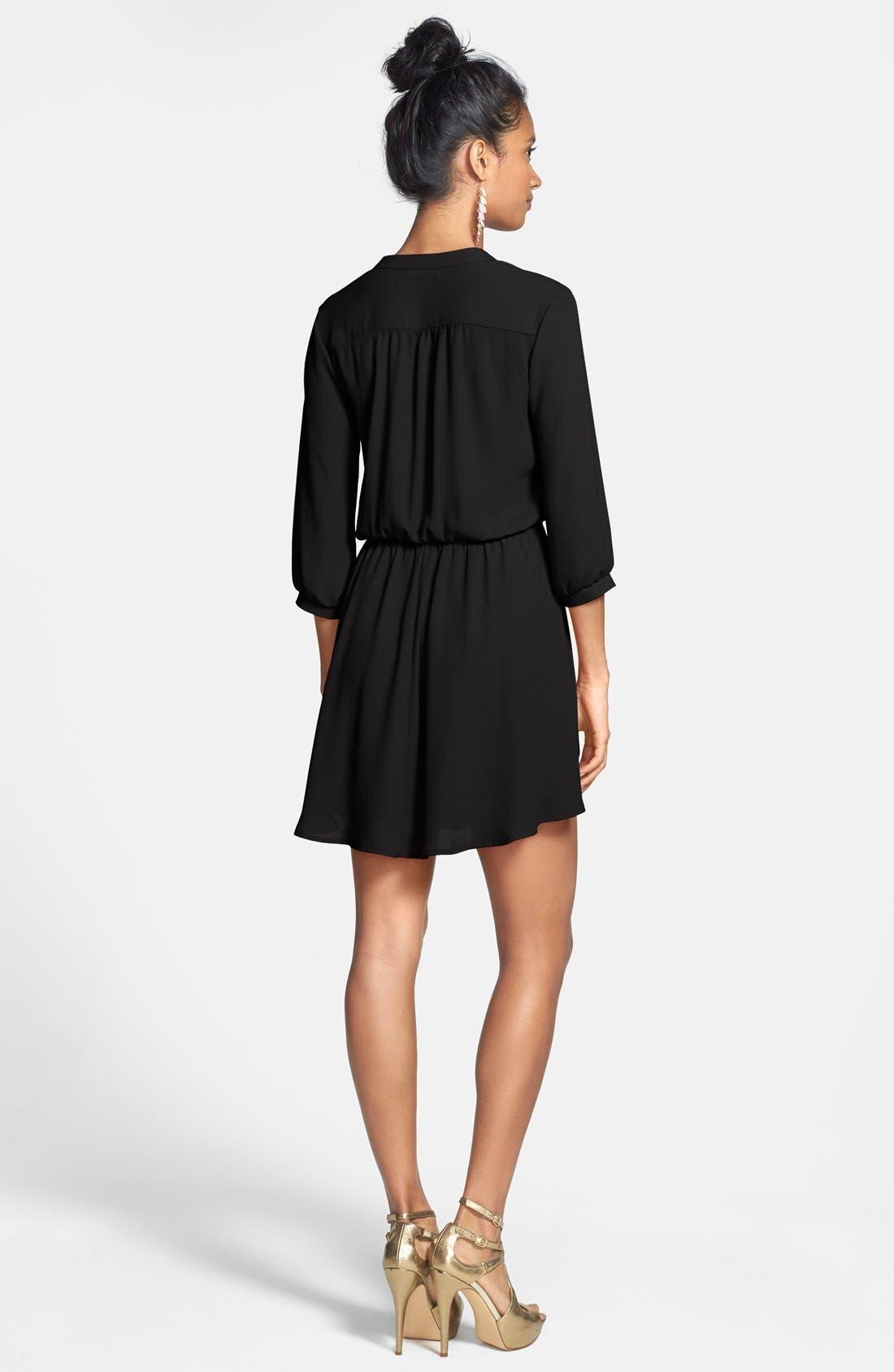 ---, Kendal' Surplice Faux Wrap Dress, Alternate thumbnail 3, color, 001