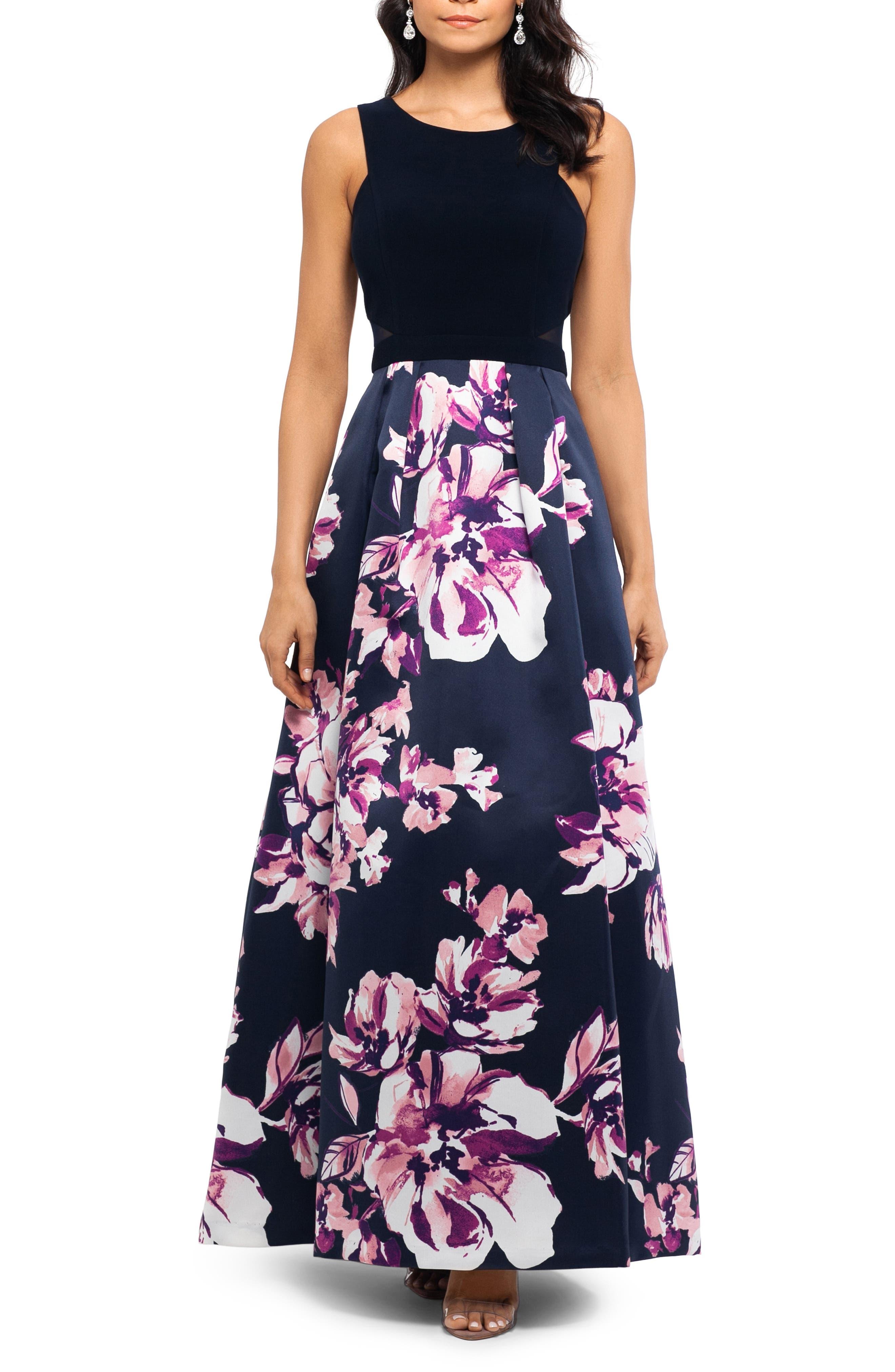 Xscape Floral Evening Dress, Blue