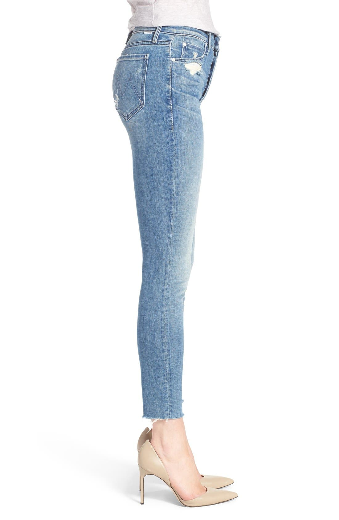 MOTHER, The Stunner Frayed Ankle Skinny Jeans, Alternate thumbnail 11, color, GRAFITTI GIRL