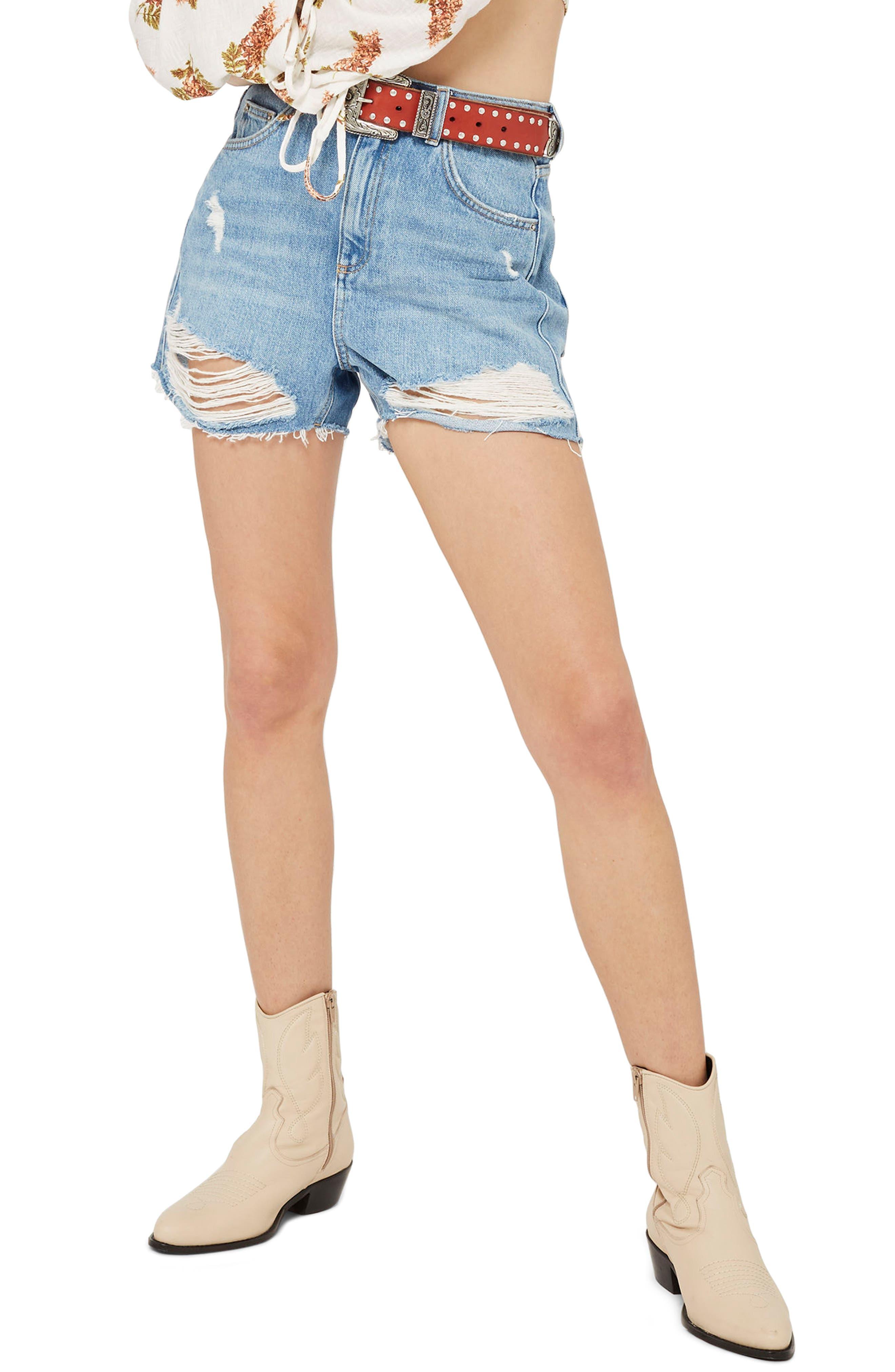 TOPSHOP Ripped Denim Mom Shorts, Main, color, 400