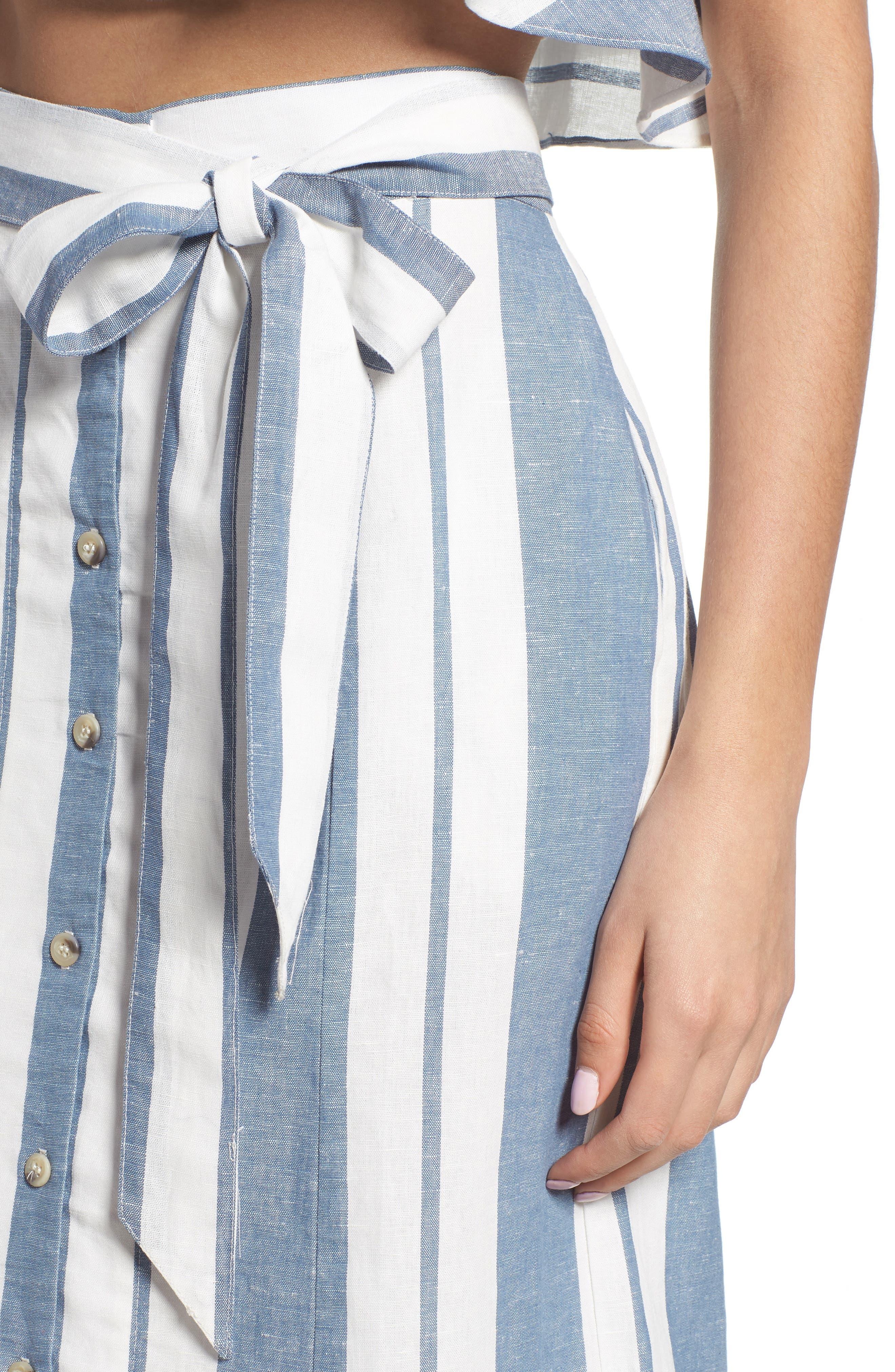 WAYF, Stripe Midi Skirt, Alternate thumbnail 4, color, 400