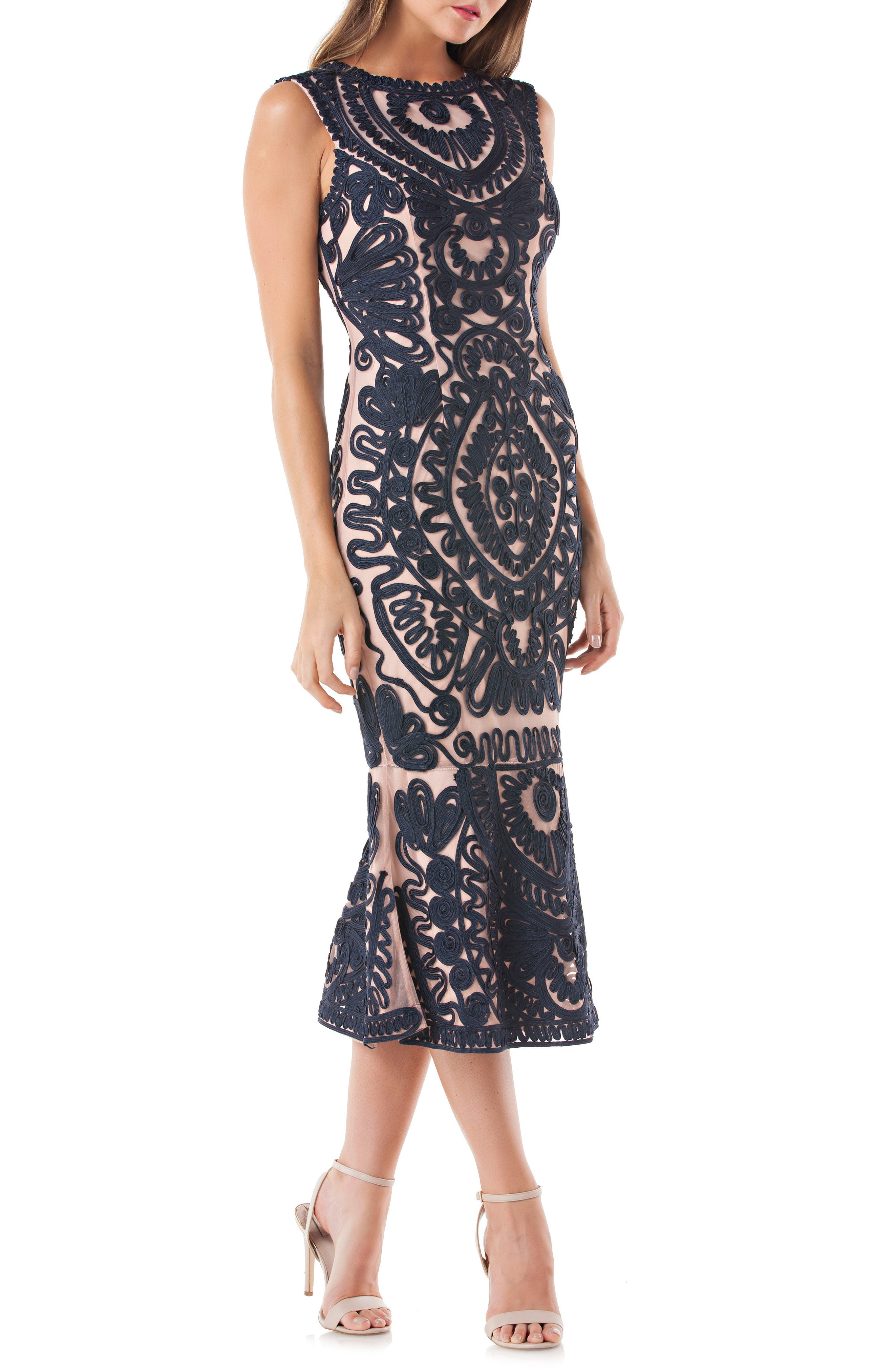 JS COLLECTIONS, Soutache Mesh Dress, Main thumbnail 1, color, NAVY/ NUDE