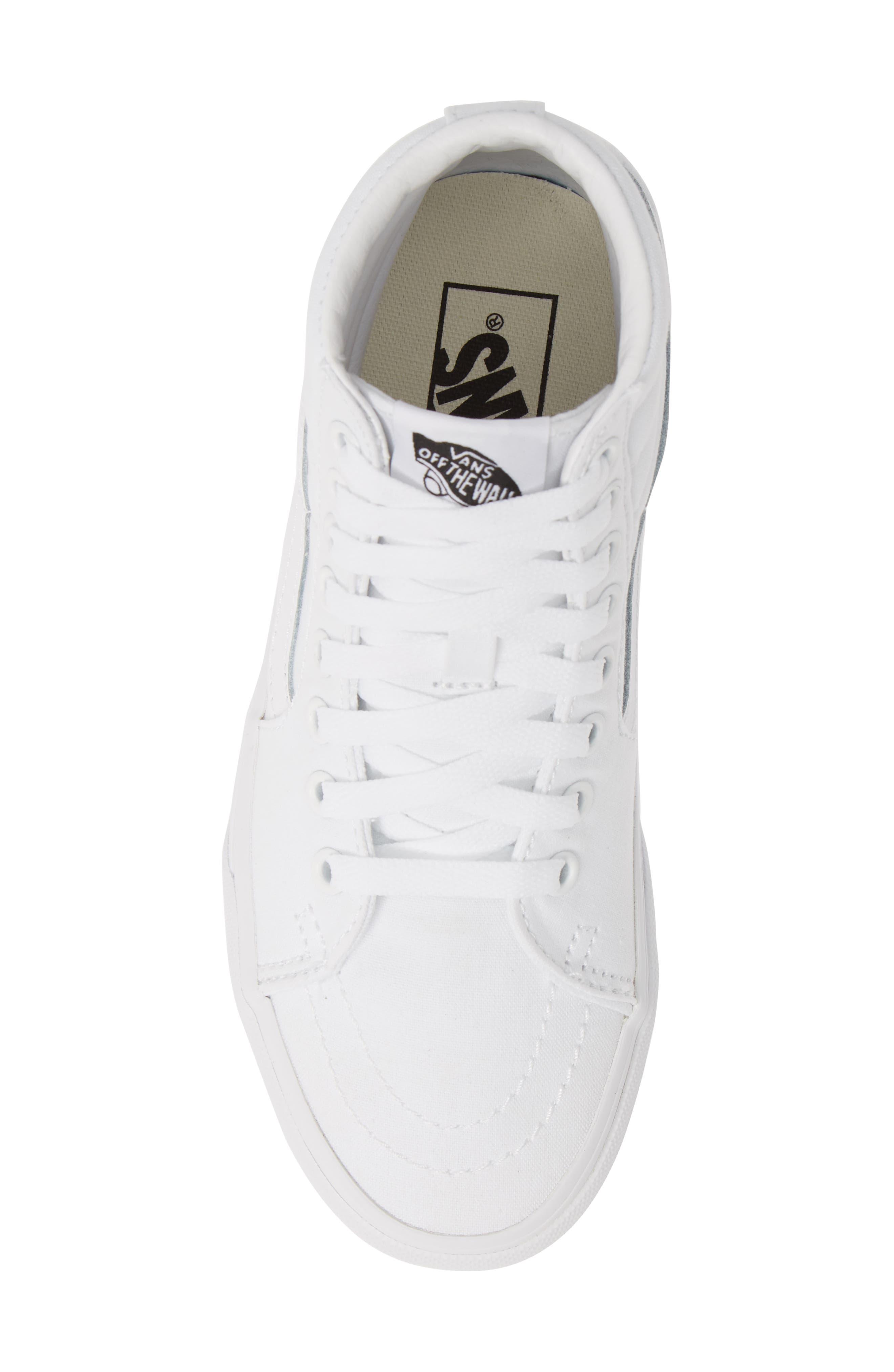 VANS, Sk8-Hi Platform Sneaker, Alternate thumbnail 5, color, TRUE WHITE/ TRUE WHITE
