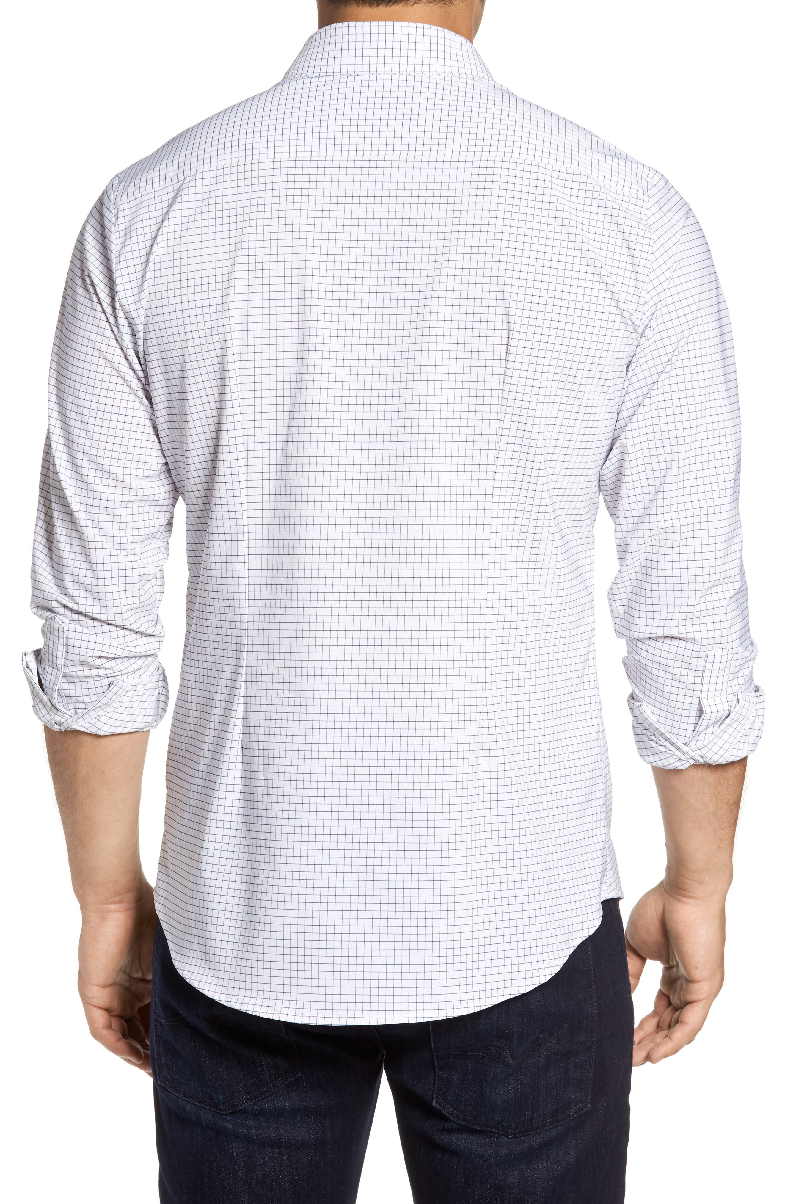 MIZZEN+MAIN, Kennedy Trim Fit Windowpane Sport Shirt, Alternate thumbnail 2, color, WHITE
