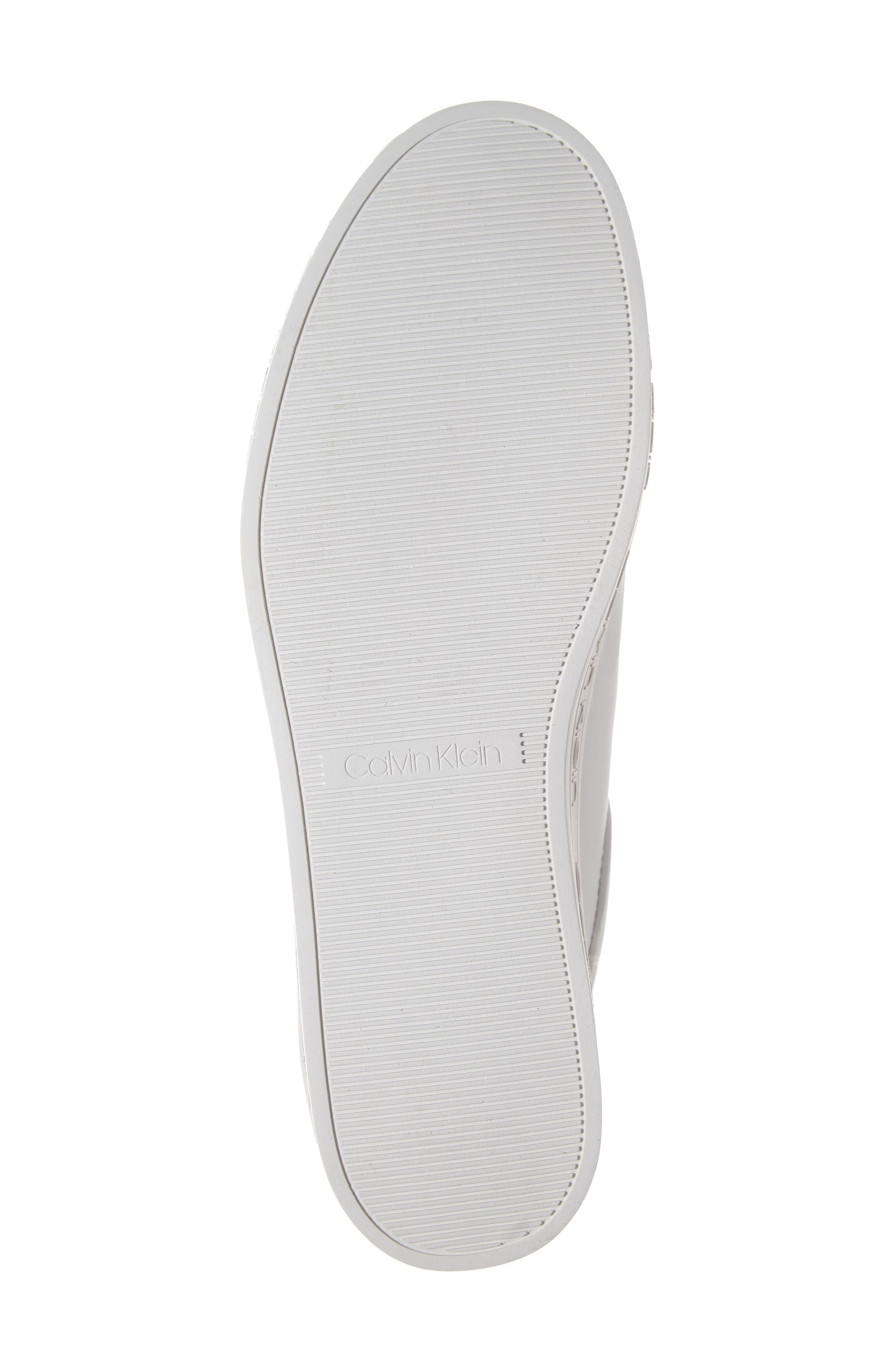 CALVIN KLEIN, Jaelee Sneaker, Alternate thumbnail 6, color, WHITE NAPPA LEATHER