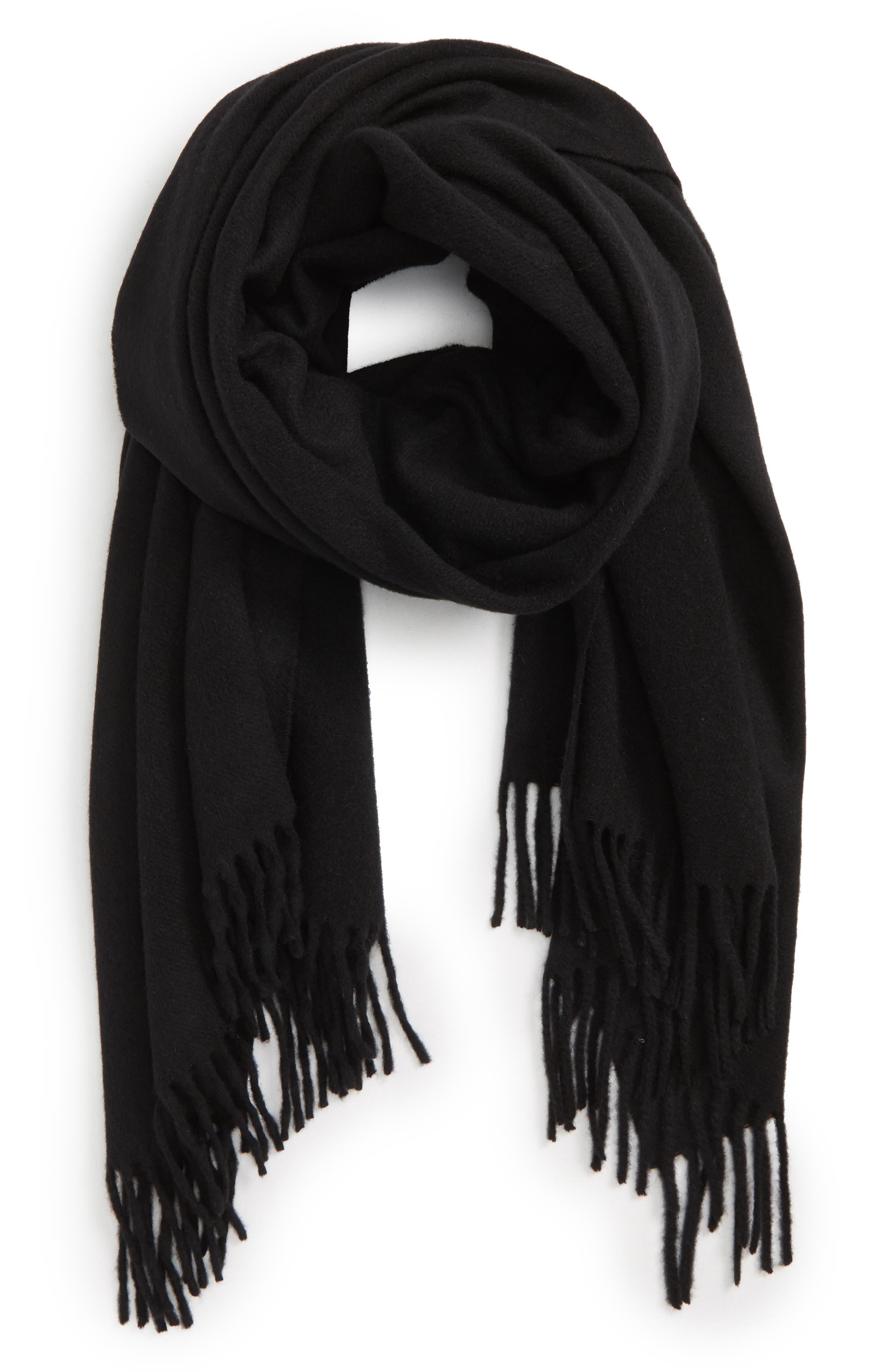 RAG & BONE, Classic Wool Scarf, Alternate thumbnail 3, color, BLACK