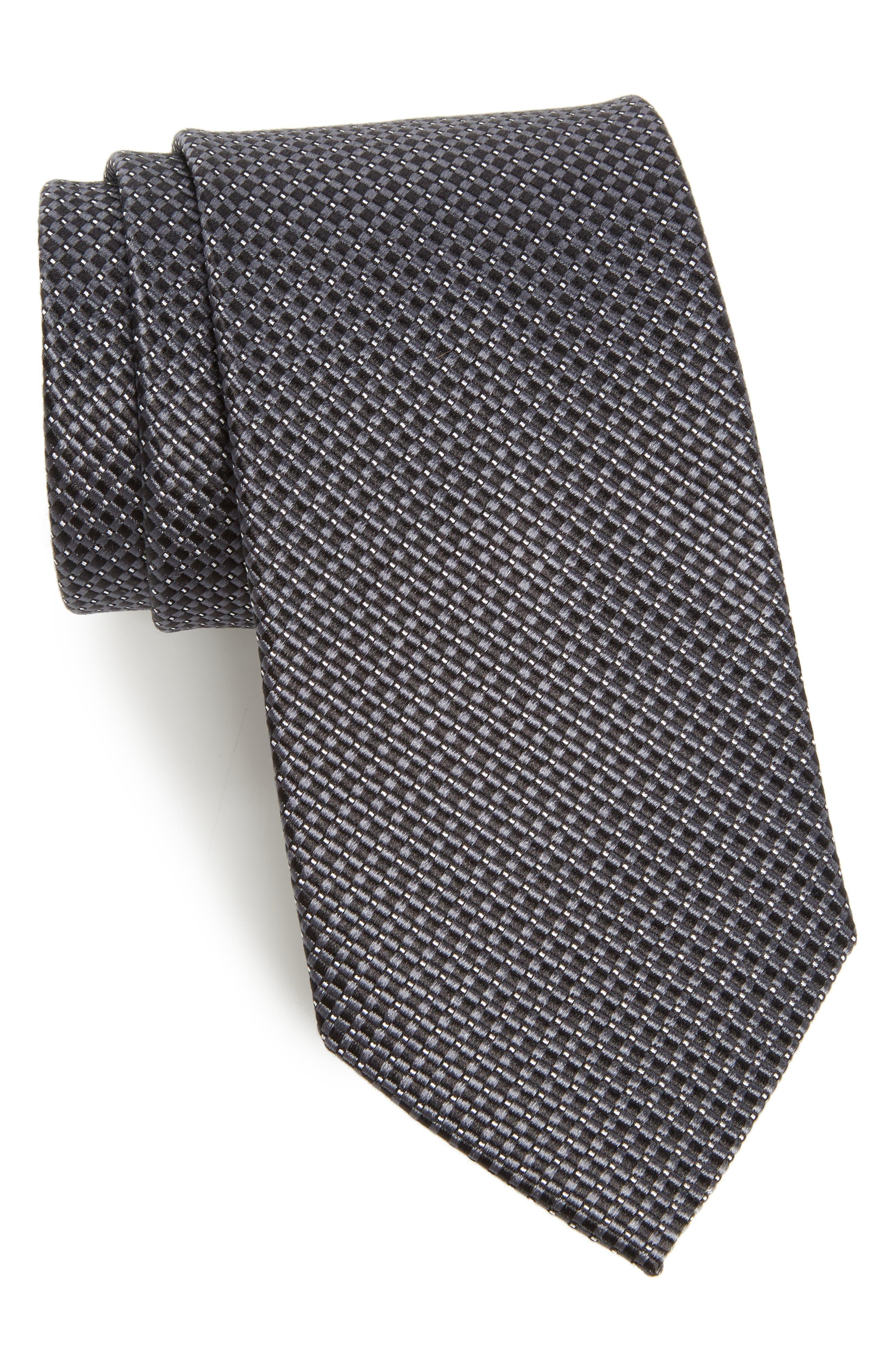 NORDSTROM MEN'S SHOP, Microgrid Silk Tie, Main thumbnail 1, color, BLACK