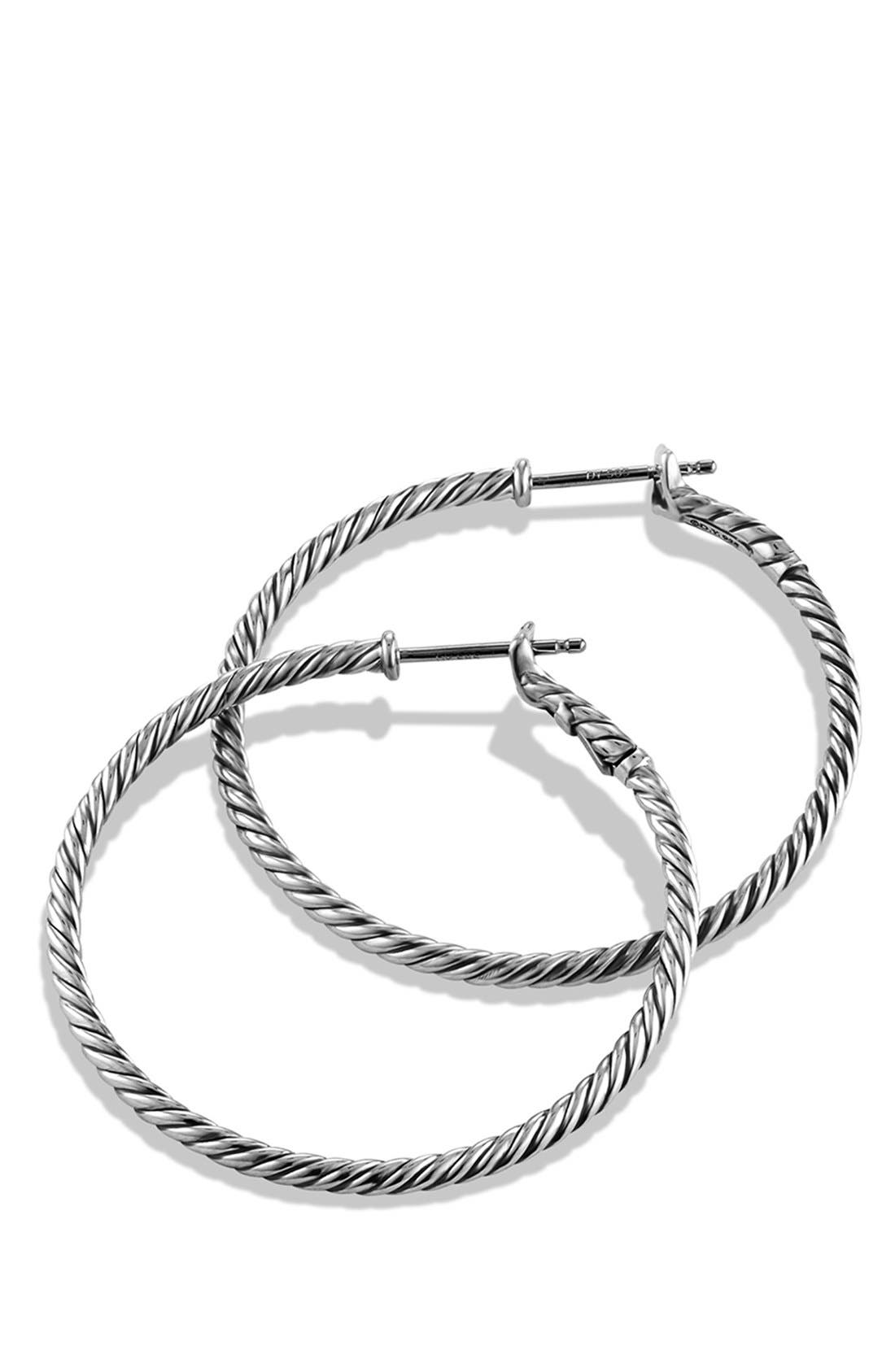 DAVID YURMAN, Cable Classics Hoop Earrings, Alternate thumbnail 3, color, SILVER