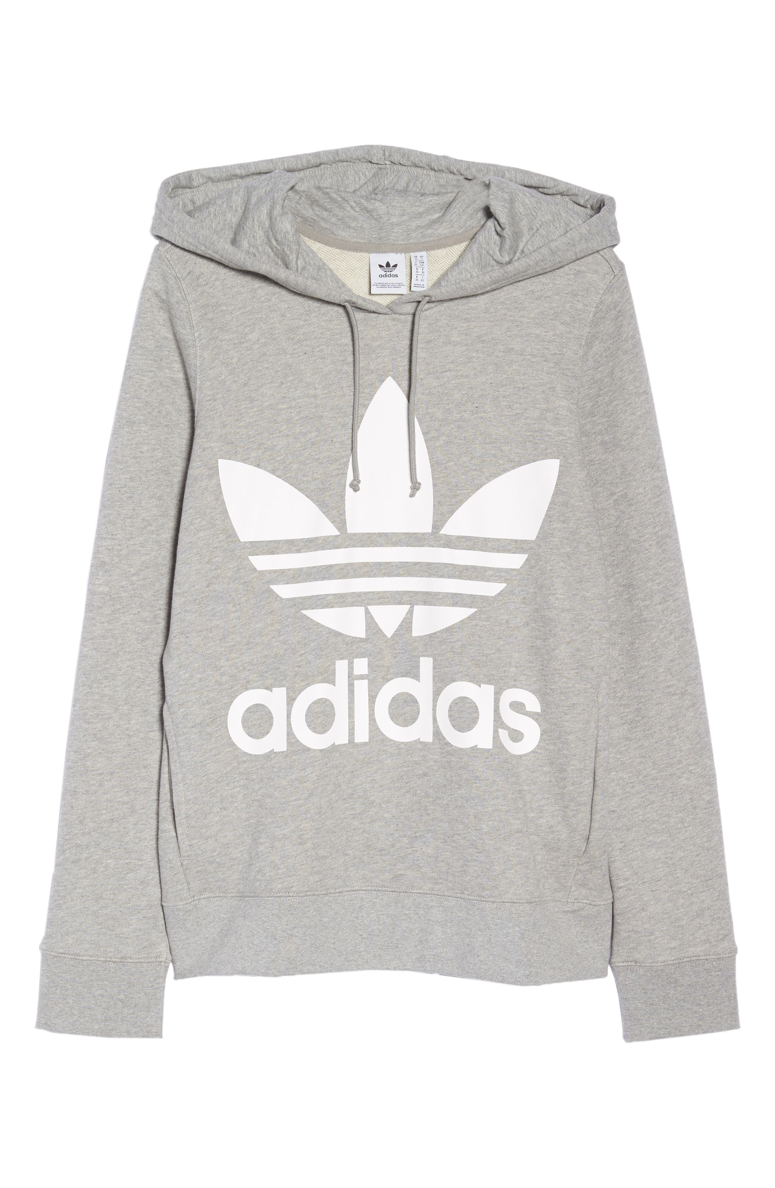 ADIDAS ORIGINALS, Trefoil Hoodie, Alternate thumbnail 7, color, MEDIUM GREY HEATHER