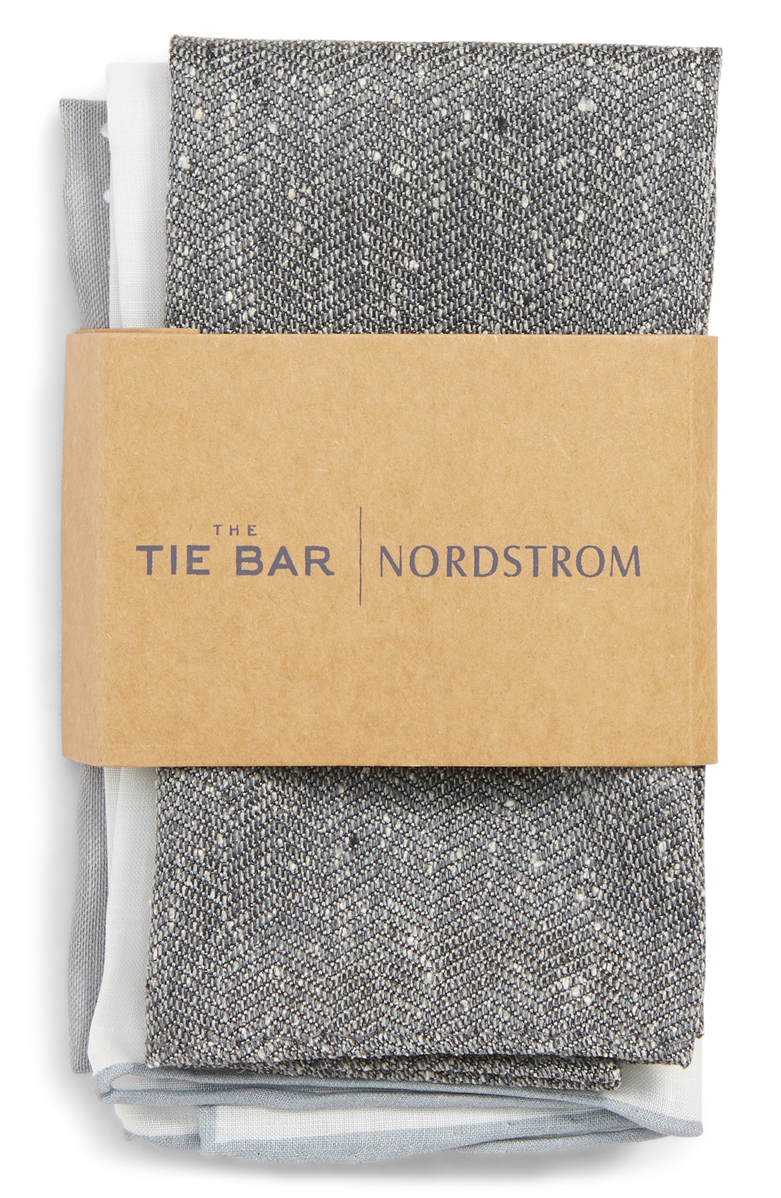 THE TIE BAR, 3-Pack Pocket Squares, Alternate thumbnail 2, color, GREY