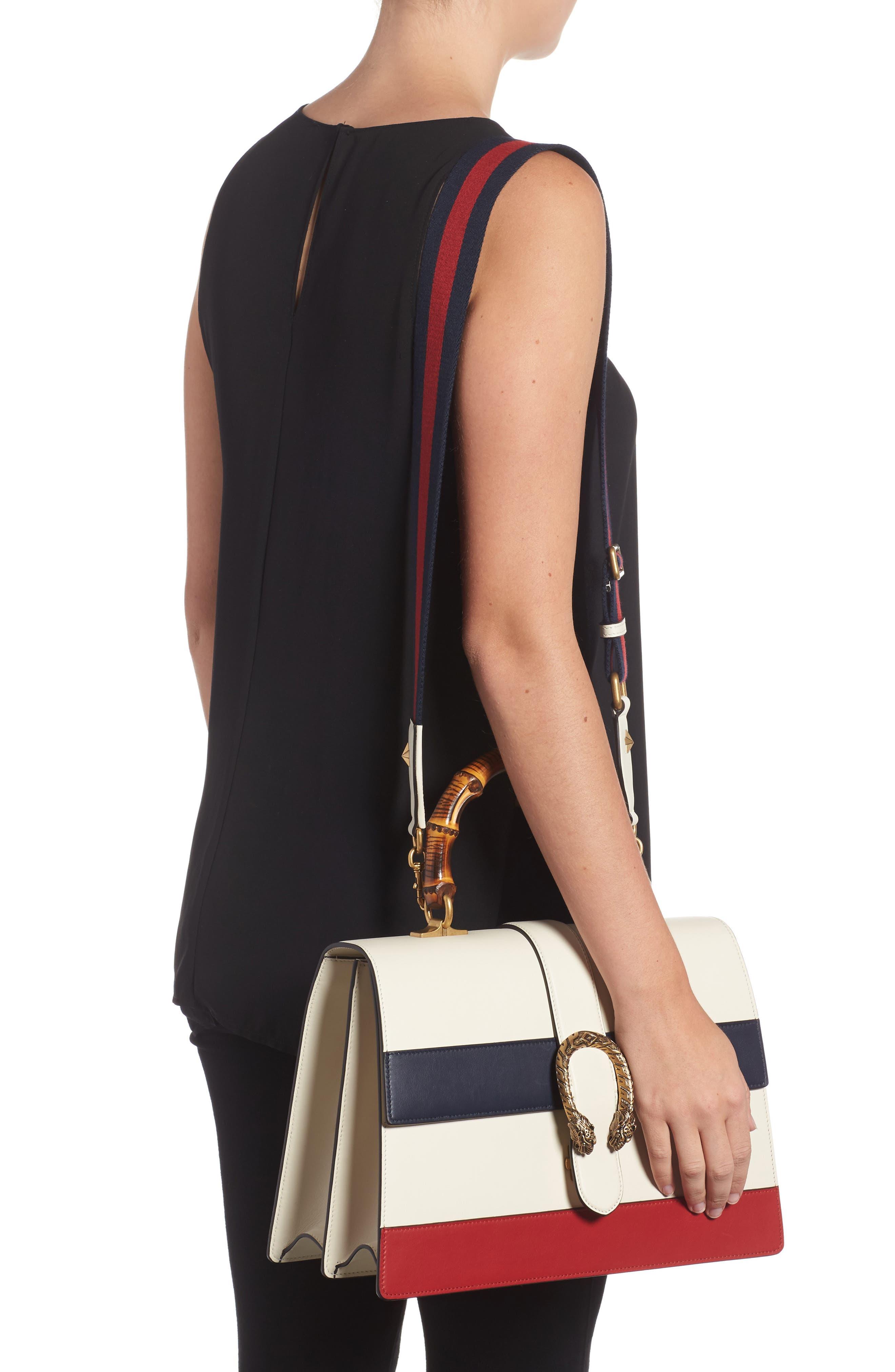 GUCCI, Large Dionysus Top Handle Leather Shoulder Bag, Alternate thumbnail 2, color, MYSTIC WHITE/ BLUE/ RED