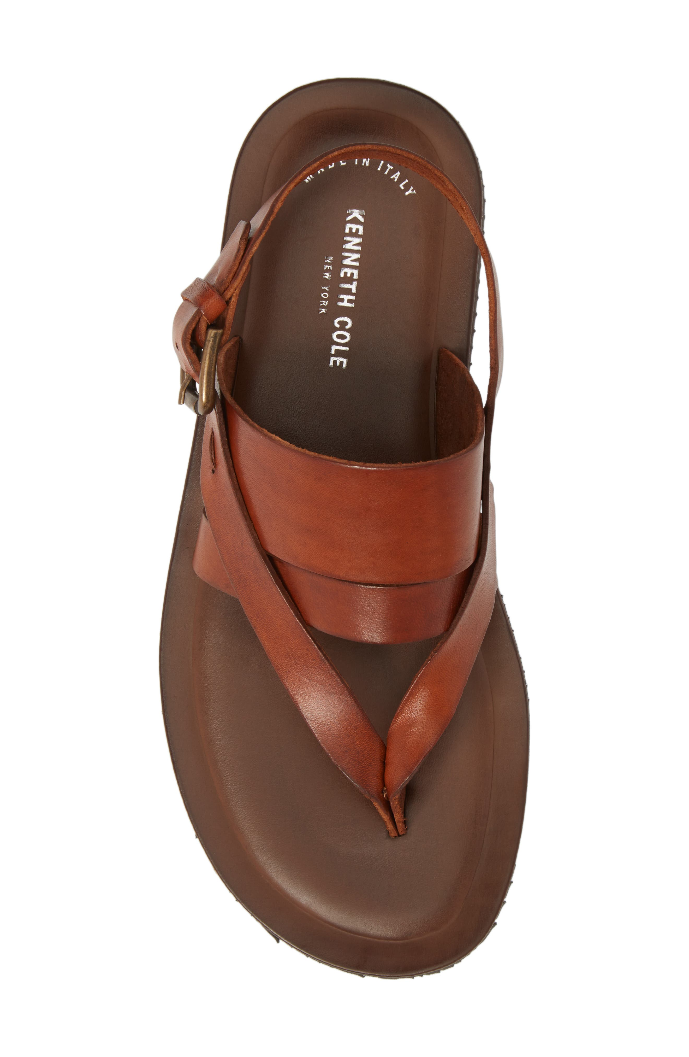 KENNETH COLE NEW YORK, 'Reel-Ist' Sandal, Alternate thumbnail 5, color, COGNAC LEATHER